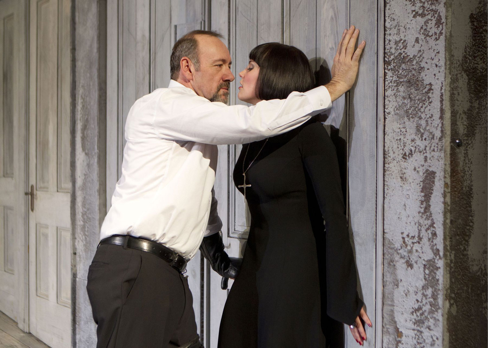 Kevin Spacey and Annabel Scholey in the Bridge Theatre Project's  Richard III.