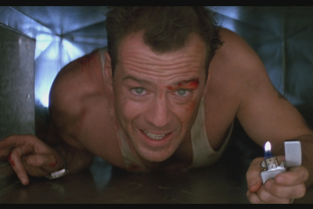 Yippie kai yay, movielover. Bruce Willis in John McTiernan's  Die Hard,  3rd-best summer blockbuster ever. John McClane 4eva.