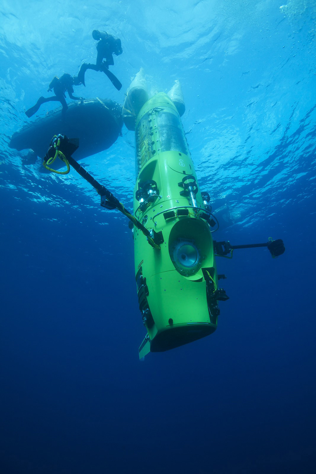 The  Deepsea Challenger,  designed by Ron Allum and James Cameron, is the only submarine in existence that can dive to full ocean depth. (Mark Thiessen/National Geographic)