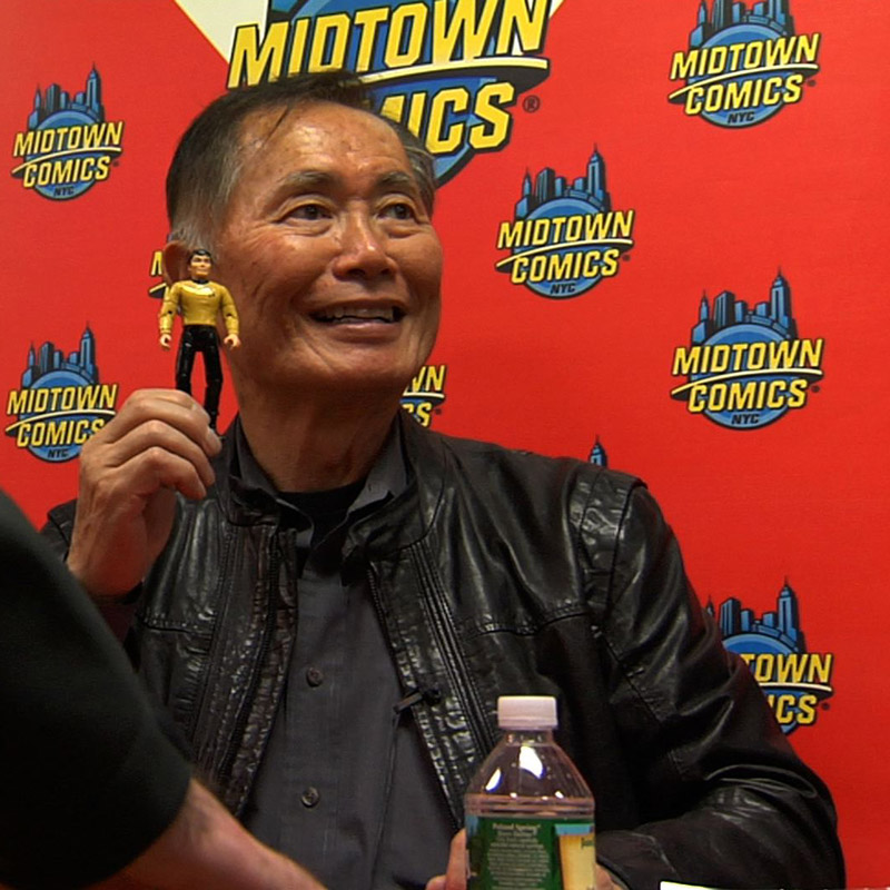 Hikaru Sulu and George Takei at Midtown Comics in Manhattan.