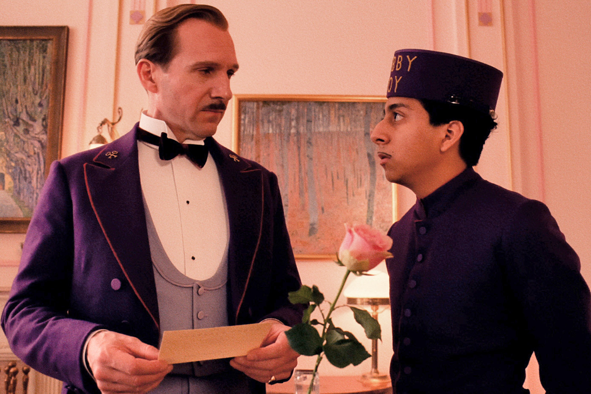 Ralph Fiennes and Tony Revolori as Gustave and Moustafa.