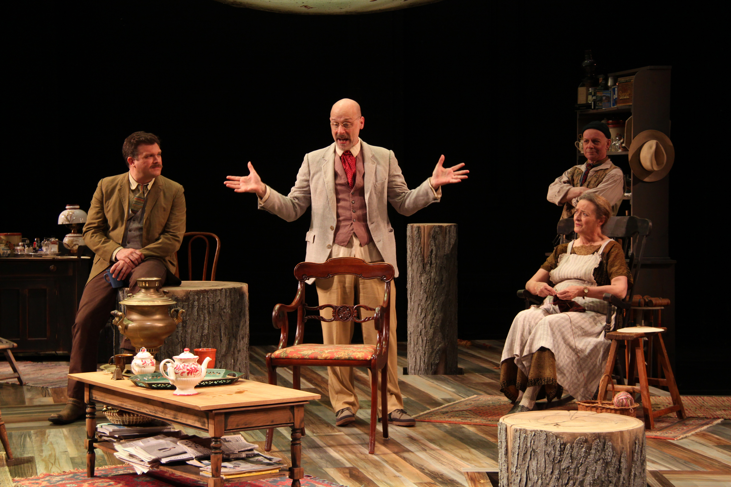 Ryan Rilette, Mitchell Hebert, Nancy Robinette, and Mark Jaster in  Uncle Vanya.  (Danisha Crosby)