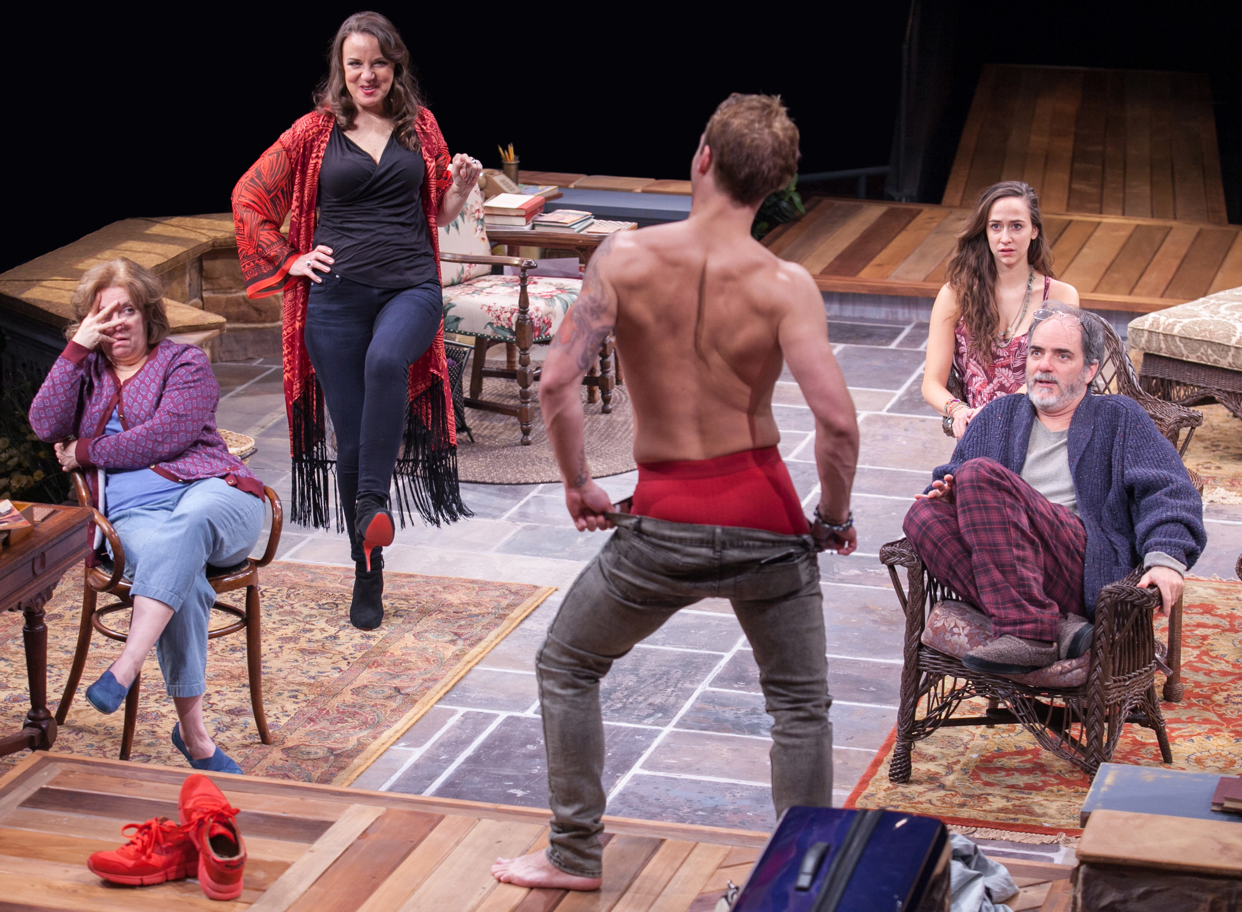 herri L. Edelen, Grace Gonglewski, Jefferson Farber , Rachel Esther, and Eric Hissom in  Vanya and Sonia and Masha and Spike.  (C. Stanley Photography)