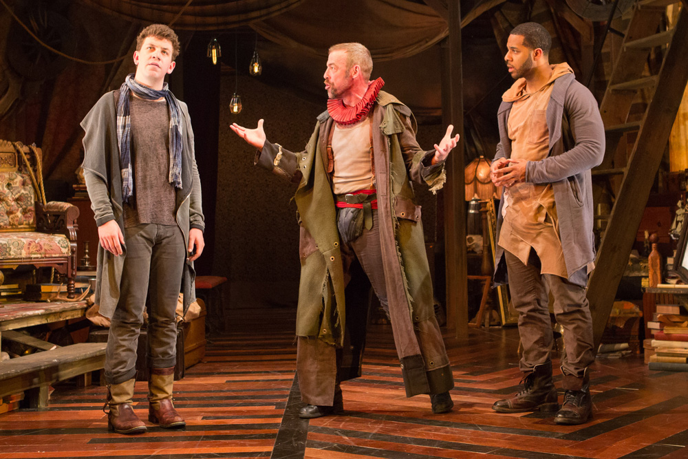 Adam Wesley Brown, Ian Merrill Peakes, and Romell Witherspoon in  Rosencrantz and Guildenstern Are Dead.  (Teresa Wood)