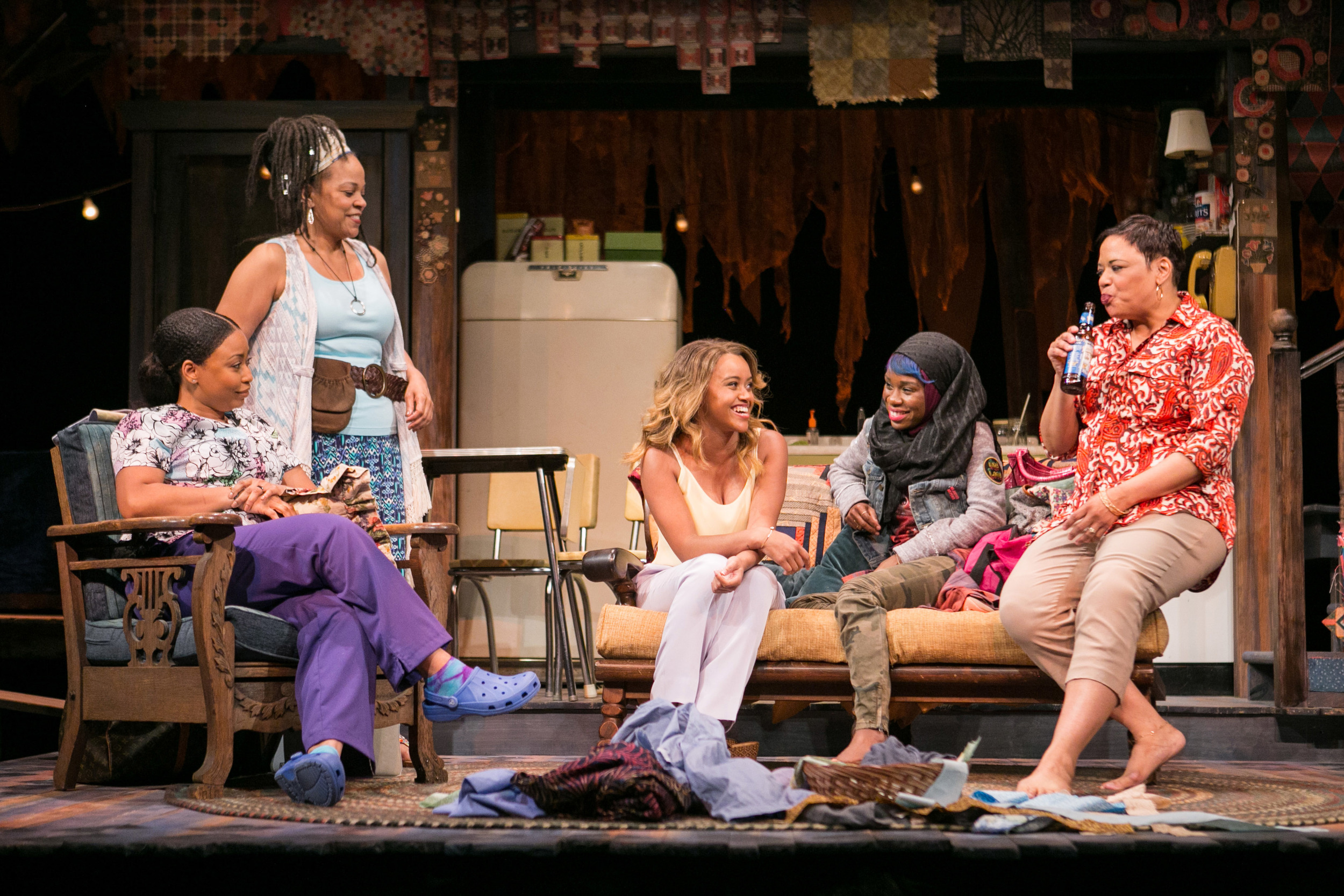 Meeya Davis, Nikiya Mathis, Caroline Clay, Afi Bijou. and Tonye Patano in  The Blood Quilt.  (C. Stanley Photography)