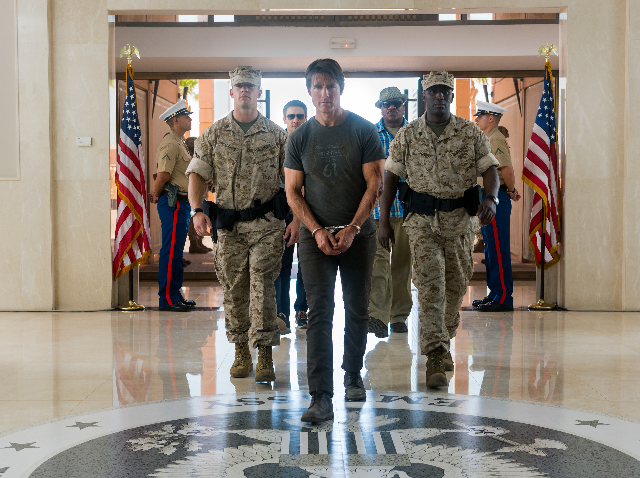 Jeremy Renner, Tom Cruise, and Ving Rhames in  Mission: Impossible — Rogue Nation.