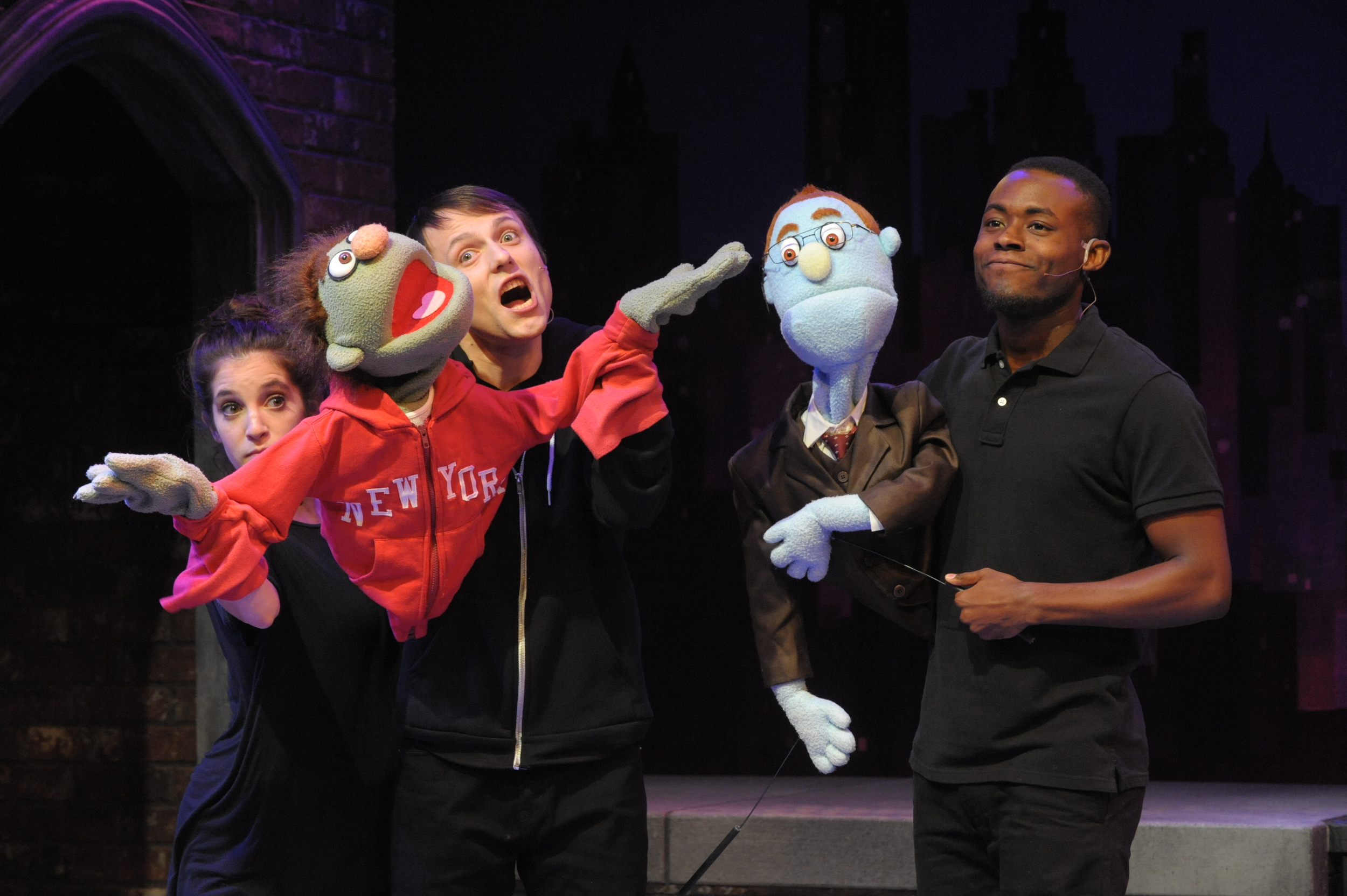 "enna Berk and Alex Alferov as Nicky and Vaughn Ryan Midder as Rod in Constellation' ""Avenue Q."" (Stan Barouh)"