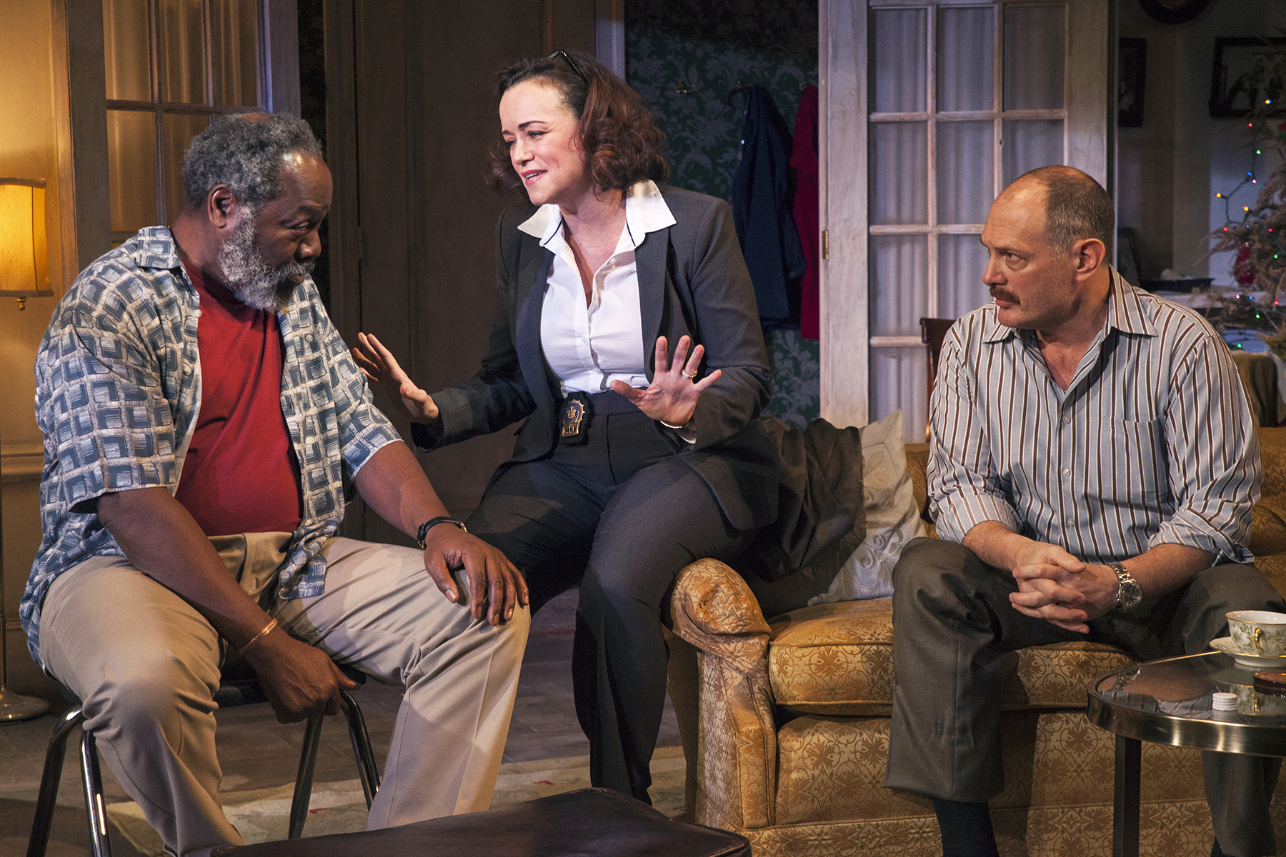 Frankie R. Faison, Emily K. Townley, and David Bishins in  Between Riverside and Crazy.  (Allie Dearie/Studio Theatre)