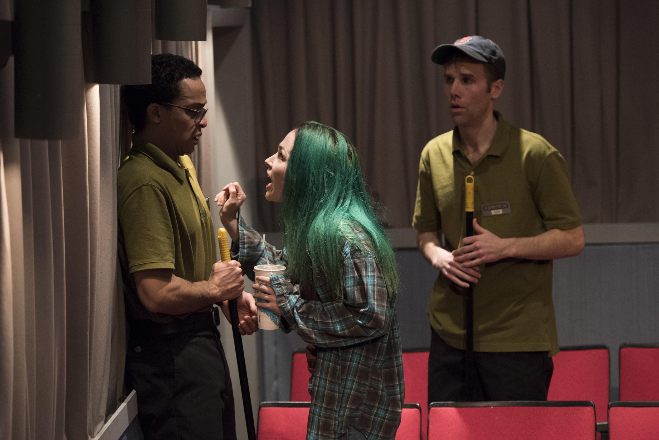 Thaddeus McCants, Laura C. Harris, and Evan Casey in  The Flick  (Signature Theatre).