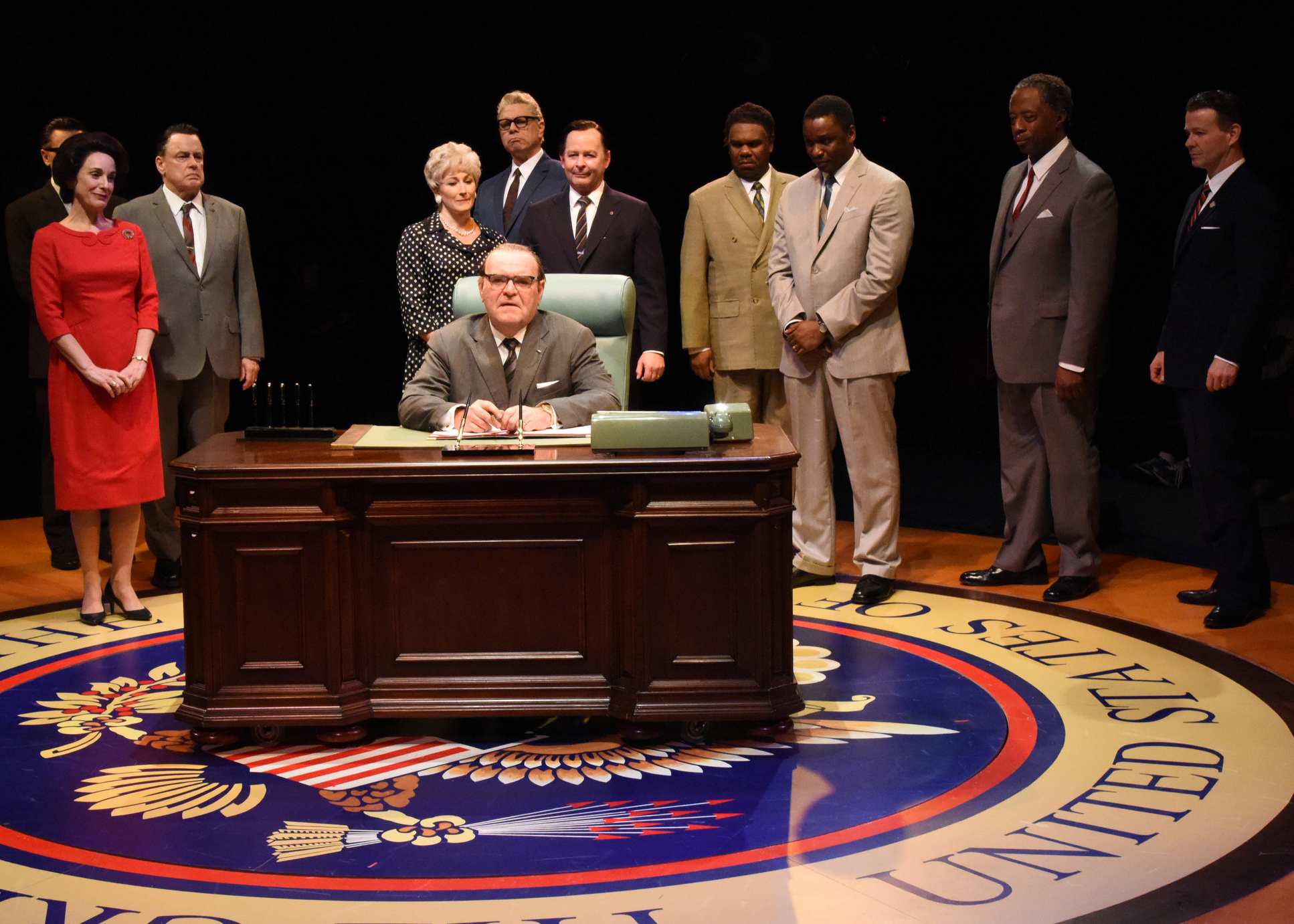 Most of the cast of Arena Stage's  All the Way,  starring Jack Willis as LBJ. (Stan Barouh)