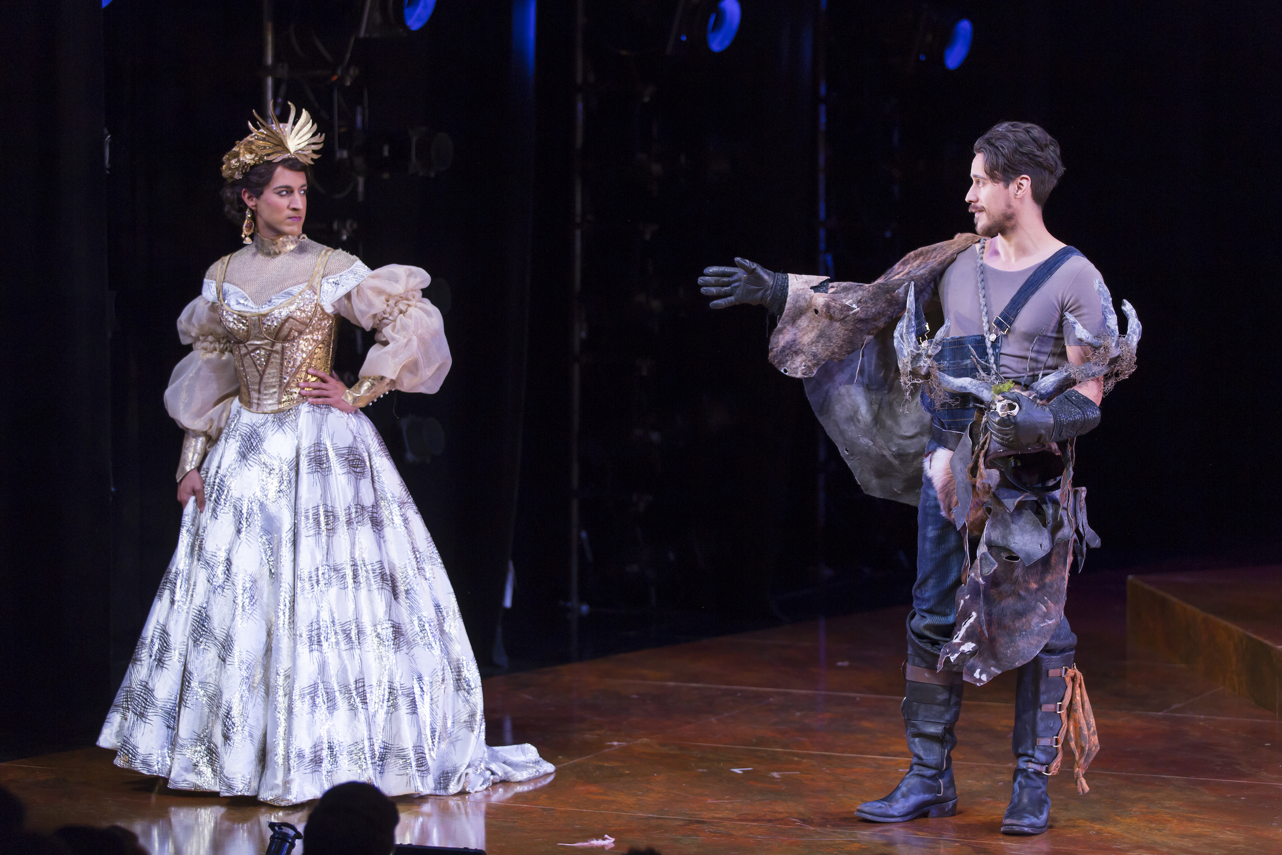 Maulik Pancholy as Katherina and Peter Gadiot as Petruchio in  The Taming of the Shrew.  (Scott Suchman)