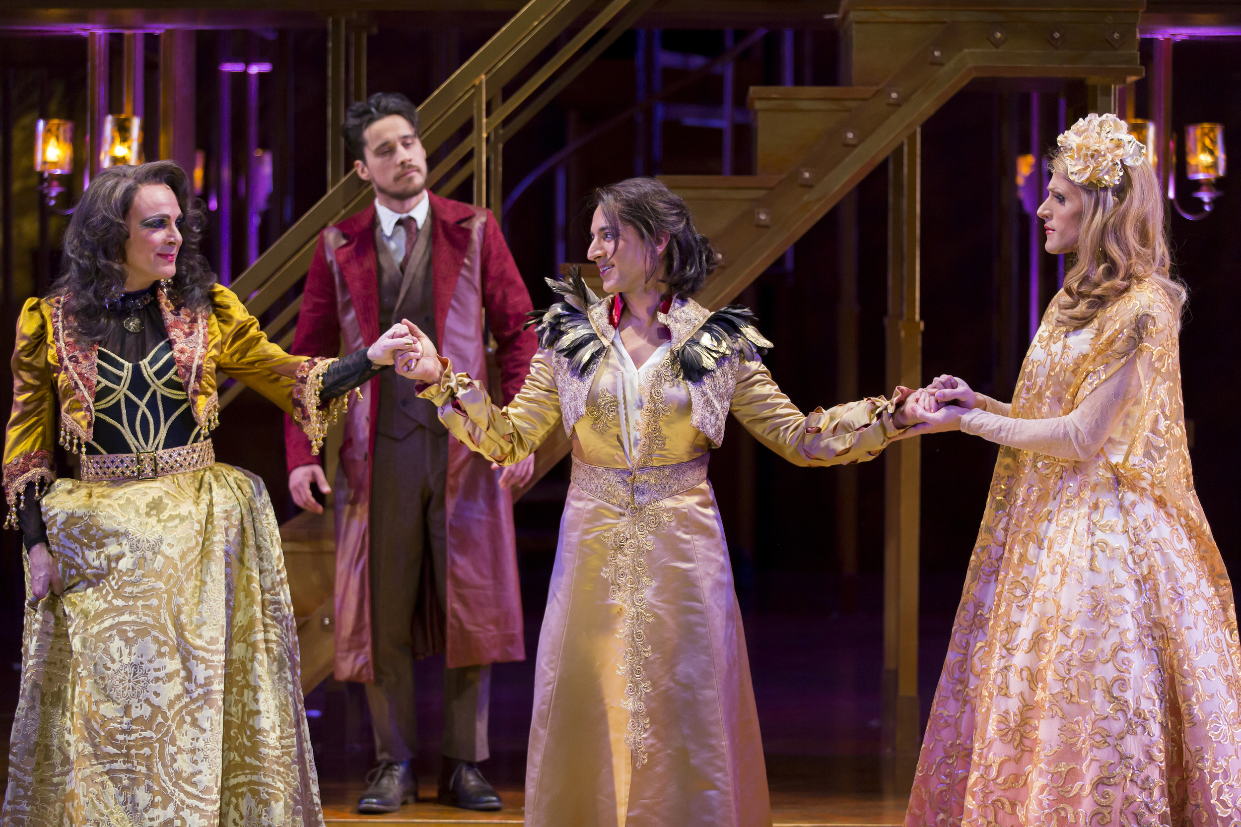 Rick Hammerly as the Contessa, Peter Gadiot as Petruchio, Maulik Pancholy as Katherina, and Oliver Thornton as Bianca in  The Taming of the Shrew.  (Scott Suchman)