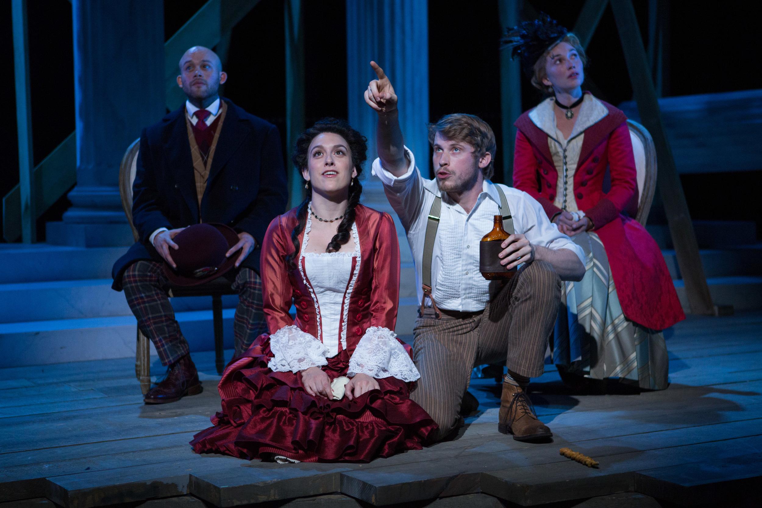 Seth Rue, Dani Stoller, William Vaughn, and Maren Bush in  District Merchants.  (Teresa Wood)