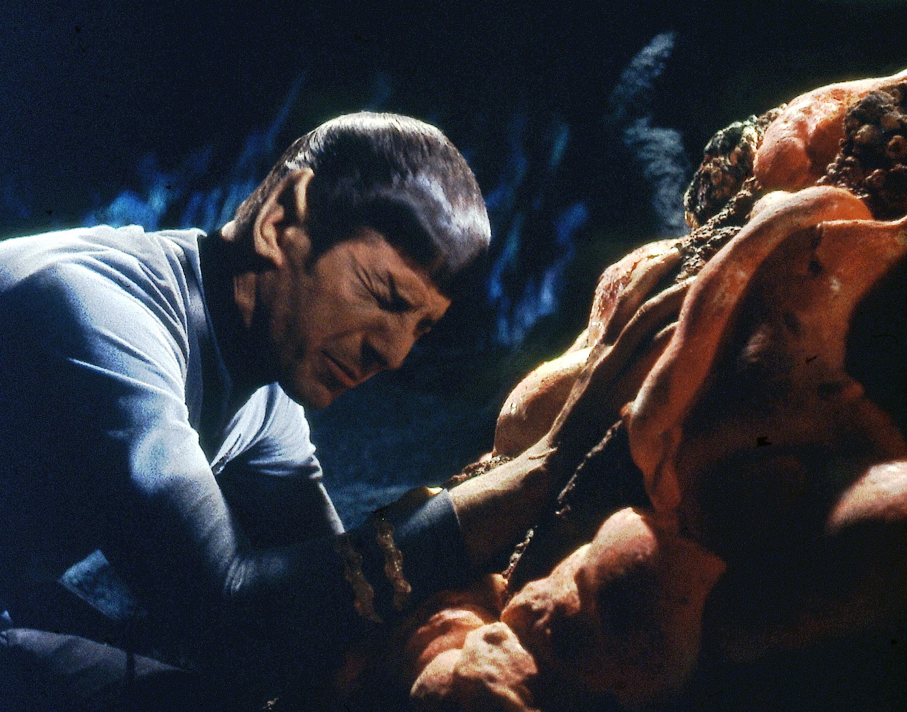 "Leonard Nimoy's unflappable Mr. Spock communes with the Horta in ""Devil in the Dark,"" from 1967. (CBS Consumer Products /  Star Trek  Archive)"