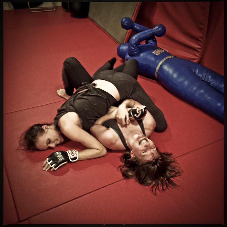Audrey Bertaux and Jennifer J. Hopkins grapple in rehearsal for The Girl in the Red Corner. (Photo:Darrow Montgomery)