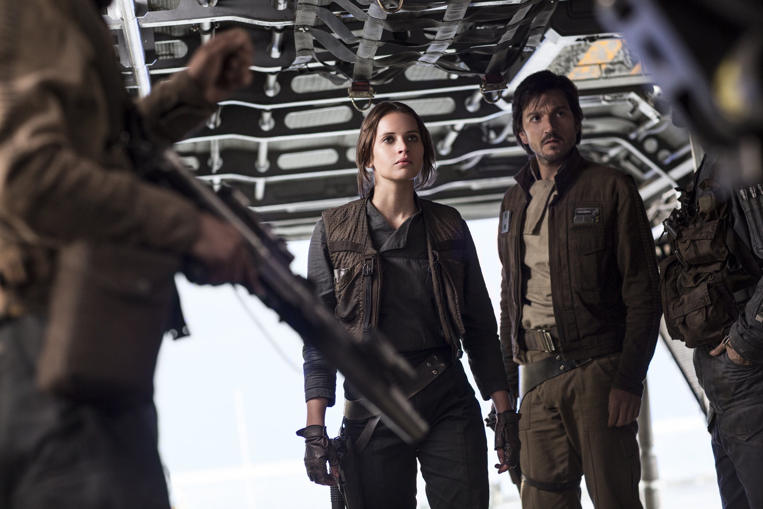 Felicity Jones and Diego Luna lead a small team of rebel guerillas in  Rogue One .
