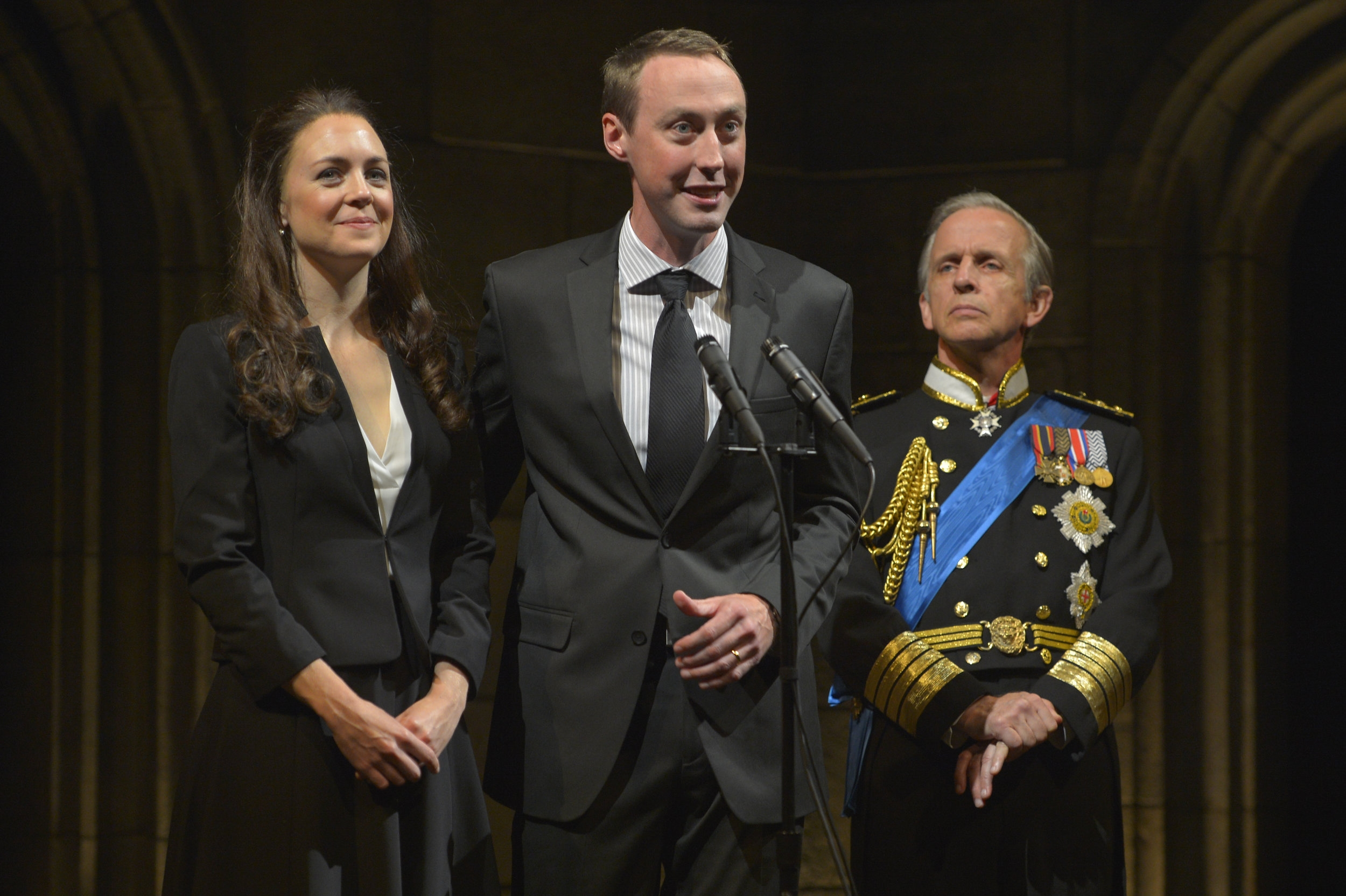 Allison Jean White, Christopher McLinden, and Robert Joy in the American Conservatory Theater production of  King Charles III , directed by David Muse. (Kevin Berne)