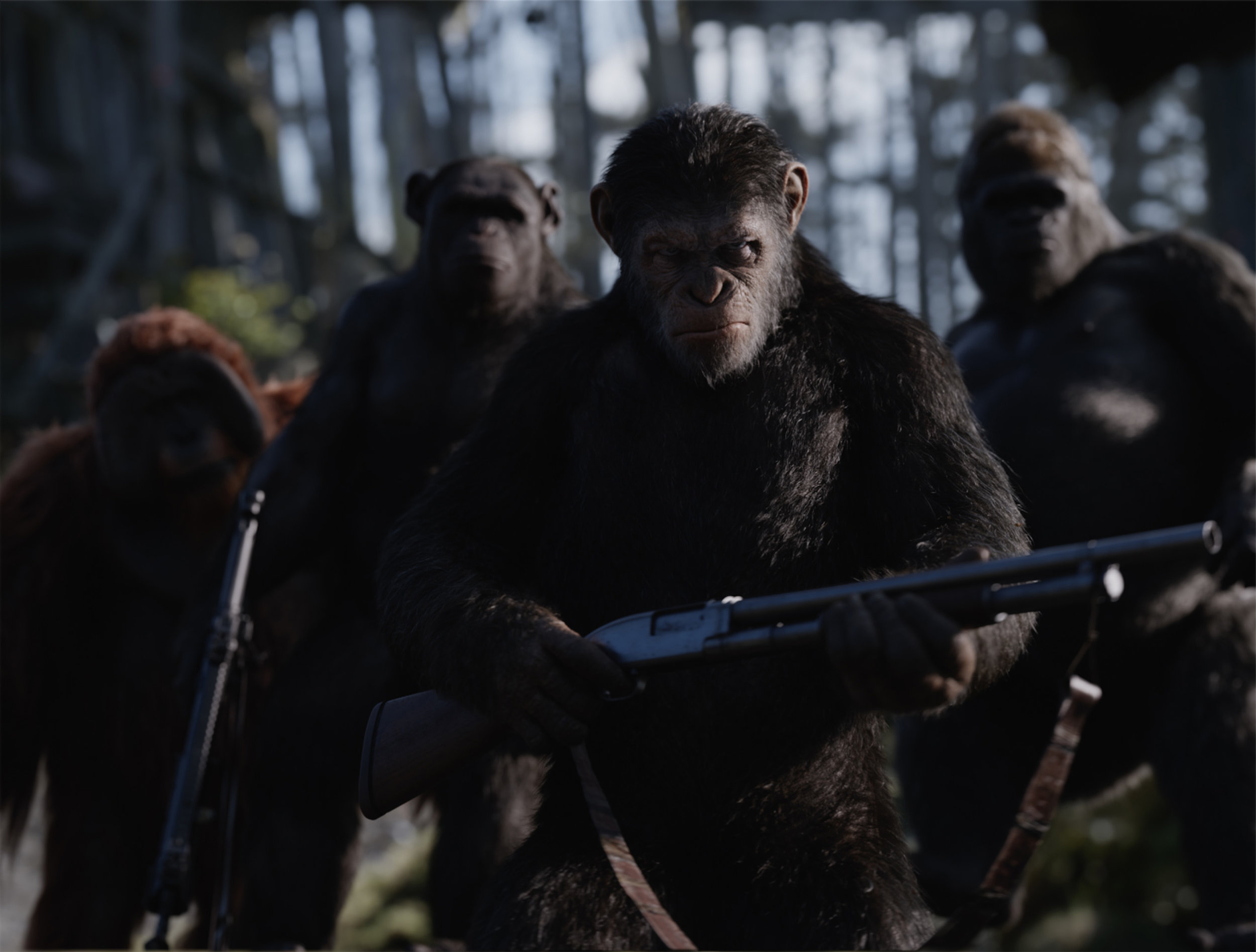 Caesar (Andy Serkis) came to eat bananas and kick ass, and he's all out of bananas. (Fox)