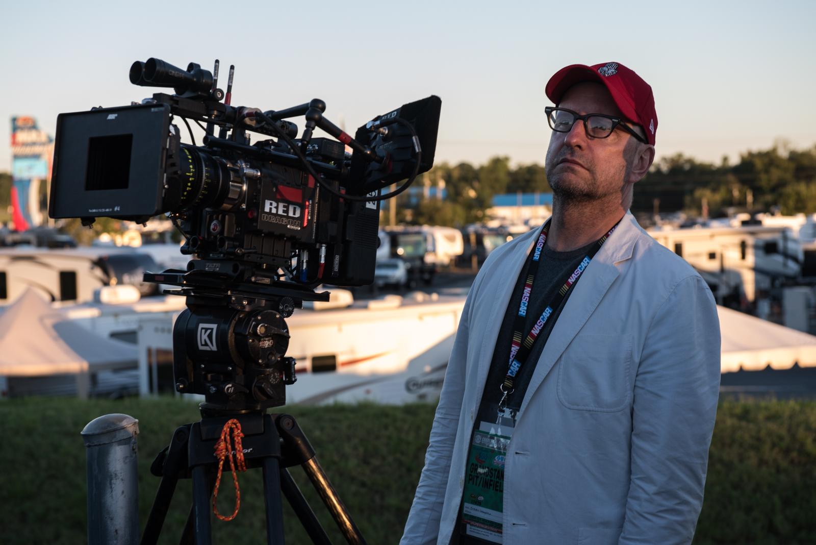 Workaholic artist Steven Soderbergh on the set of  Logan Lucky.  (Bleecker St.)