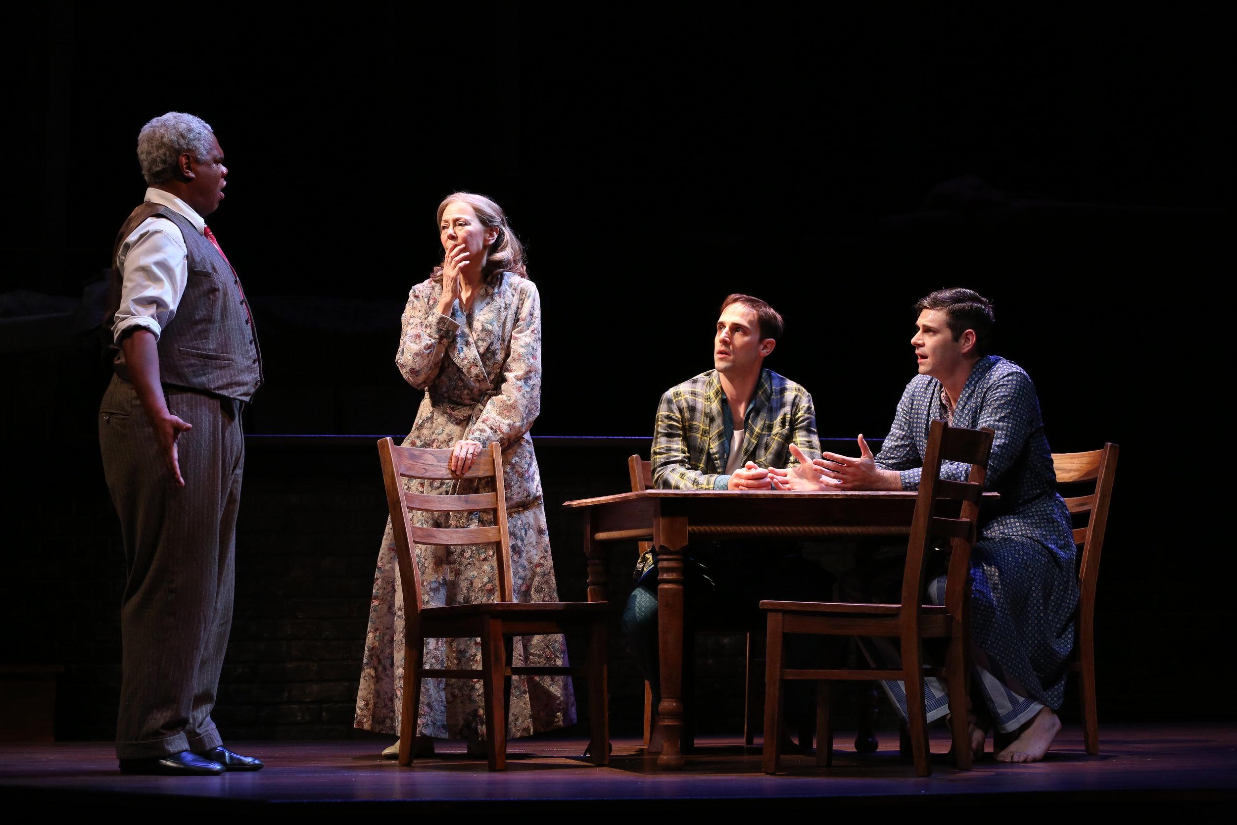 Craig Wallace, Kim Schraf, Danny Gavigan, and Thomas Keegan as the Lomans. (Carol Rosegg)