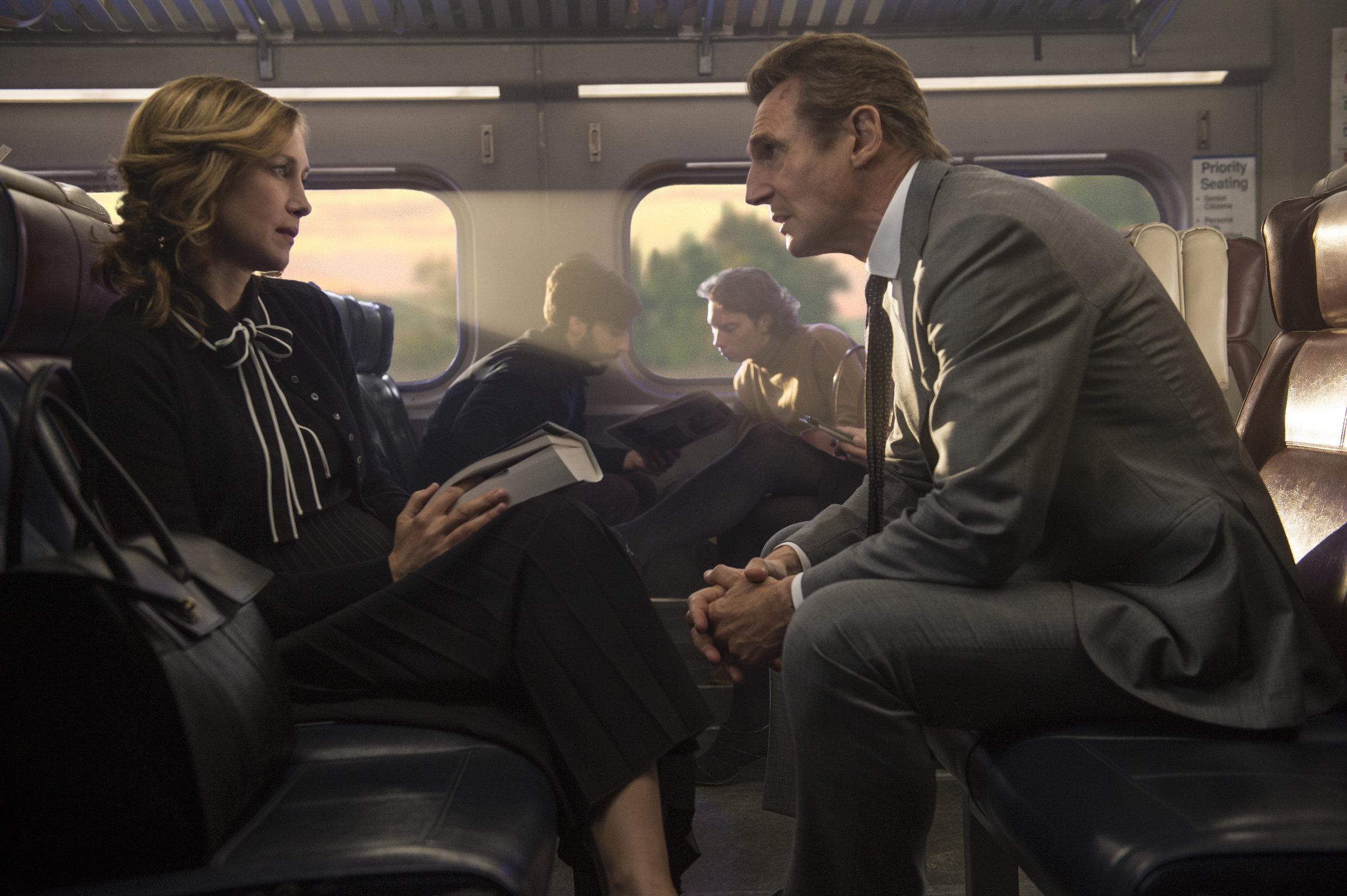 Vera Farmiga and Liam Neeson let the train take the strain. (Lionsgate)
