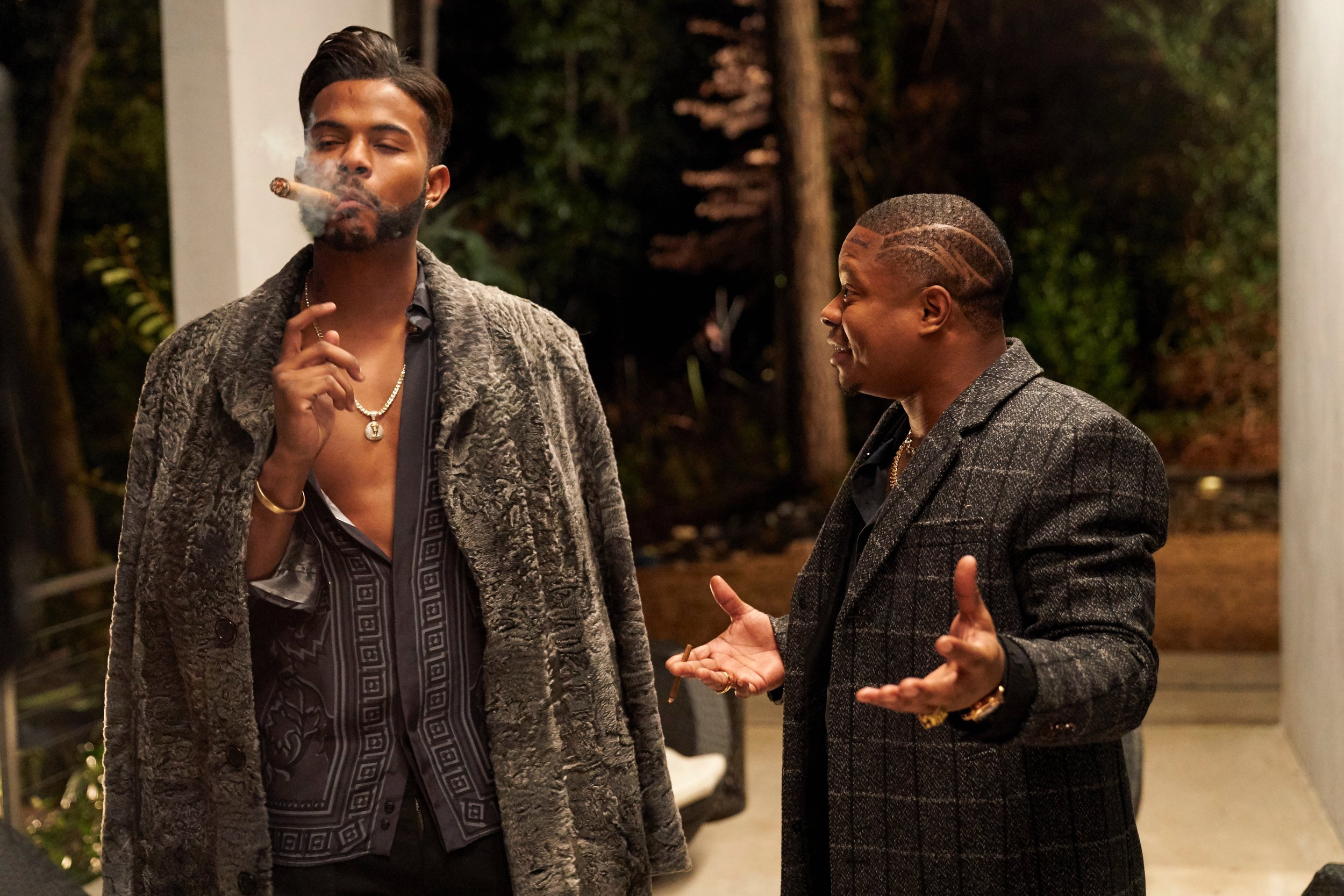 """Who the fuck is Morris Day?"" Trevor Jackson and Jason Mitchell as Priest and Eddie in  Superfly ."