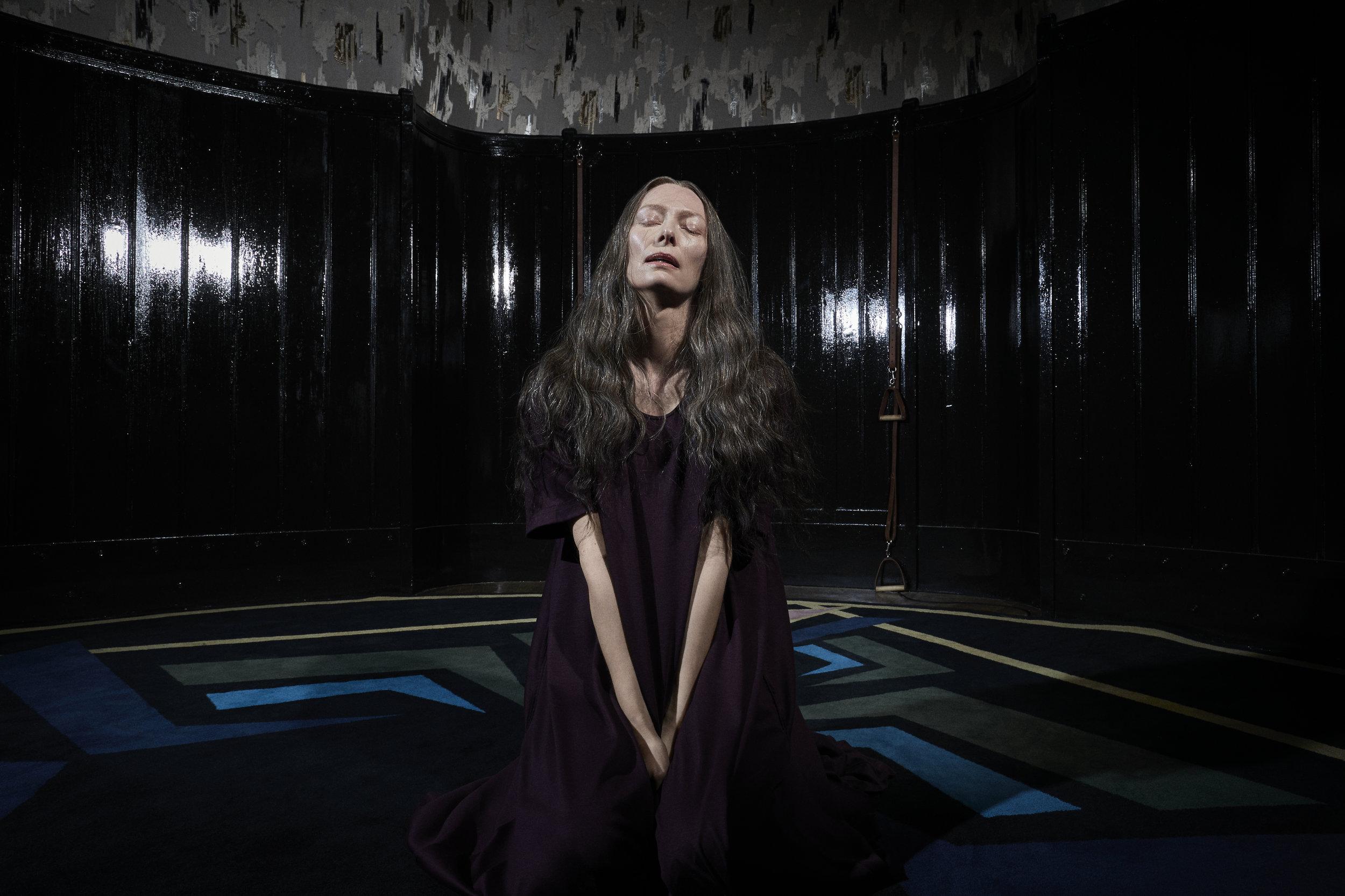 Tilda Swinton plays three parts in Suspiria; she's most recognizable in this one. (Amazon)