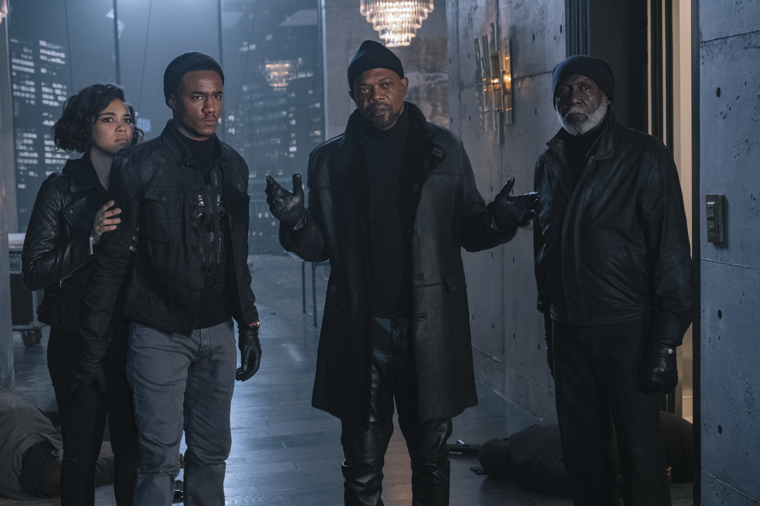 Alexandra Shipp, Jessie T. Usher, Samuel L. Jackson, and Richard Roundtree in the third series entry to be called  Shaft . (Kyle Kaplan)