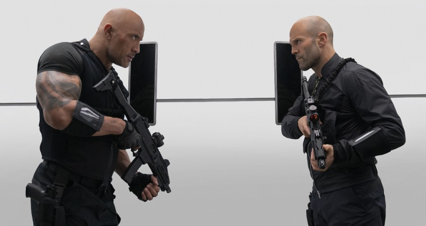 Bald Is Beautiul: Dwayne Johnson and Jason Statham. (Universal)