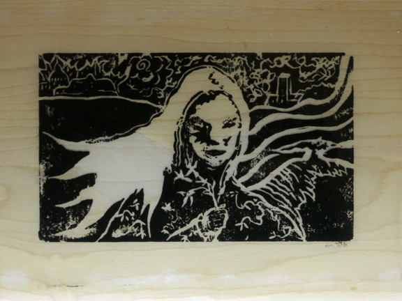 Relief Print on Maple & Epoxy