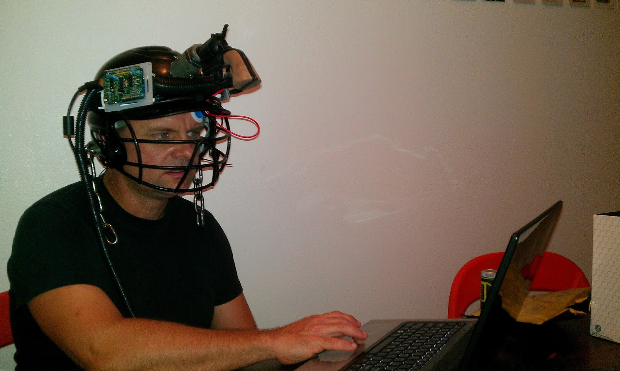 Devon tests the Bright Future helmet prior to its debut at the Art For The Survivors exhibition.