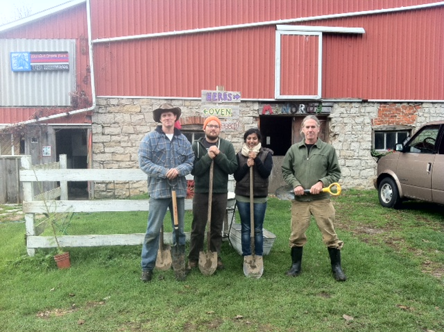 From Left to Right: Dr. Myles Sergeant, Tomasz Wiercioch, Sujane Kandasamy, Chris Krucker (at ManoRun Organic Farm, Lynden, Ontario.)