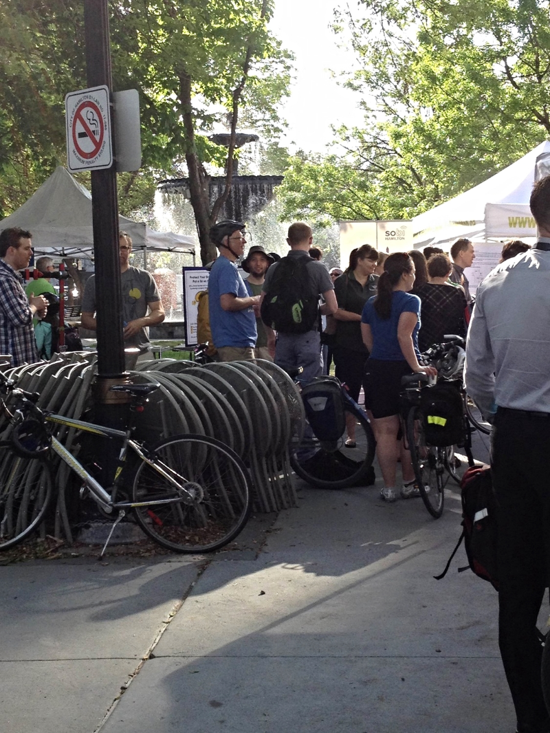 Crowds gather at Hamilton Bike to Work Day | Photo by Steve Watts