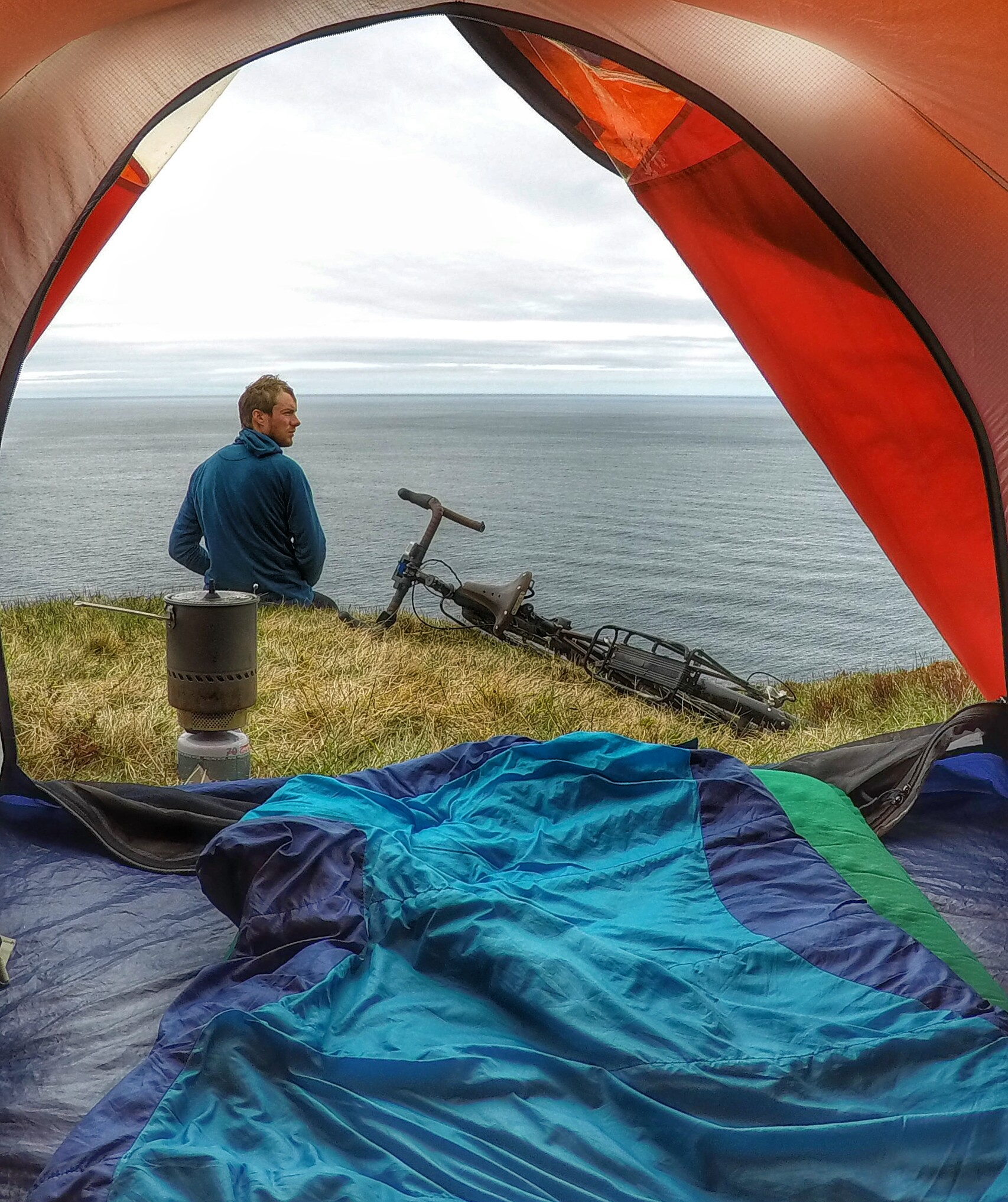 Cycled around Iceland without music, books, internet, or any real intentions on solving any self issues, goals, aspirations, or anything. I just wanted to ride my bike and look around. I did just that and after the 16 days of doing so, I didn't want it to end. Camped here at 66.2°N. The arctic circle is at 66.5°N.