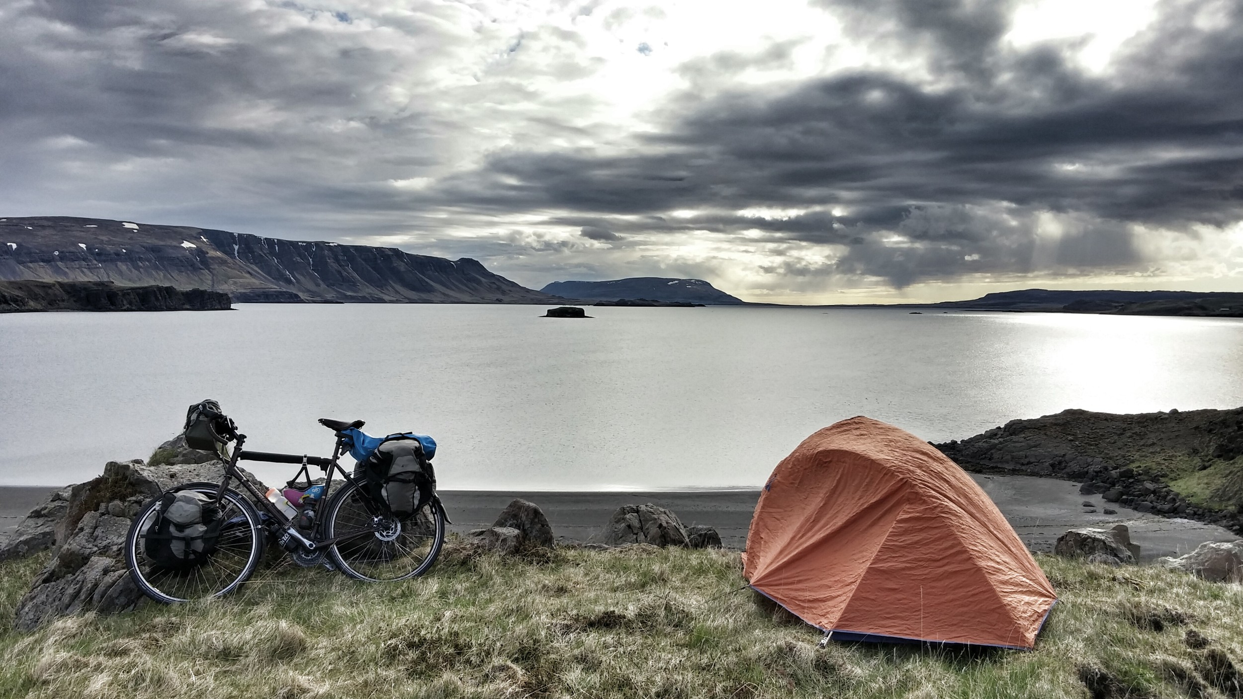 I packed my stuff until 4am in Vancouver, slept two hours, woke up, flew to Iceland, landed, built my bike, met my cousin, cycled 75km, woke up here then cycled all day again. We repeated this process for an enjoyable 16 days until cycling back to where we started in Reykjavik. 1,750 km in 16 days.