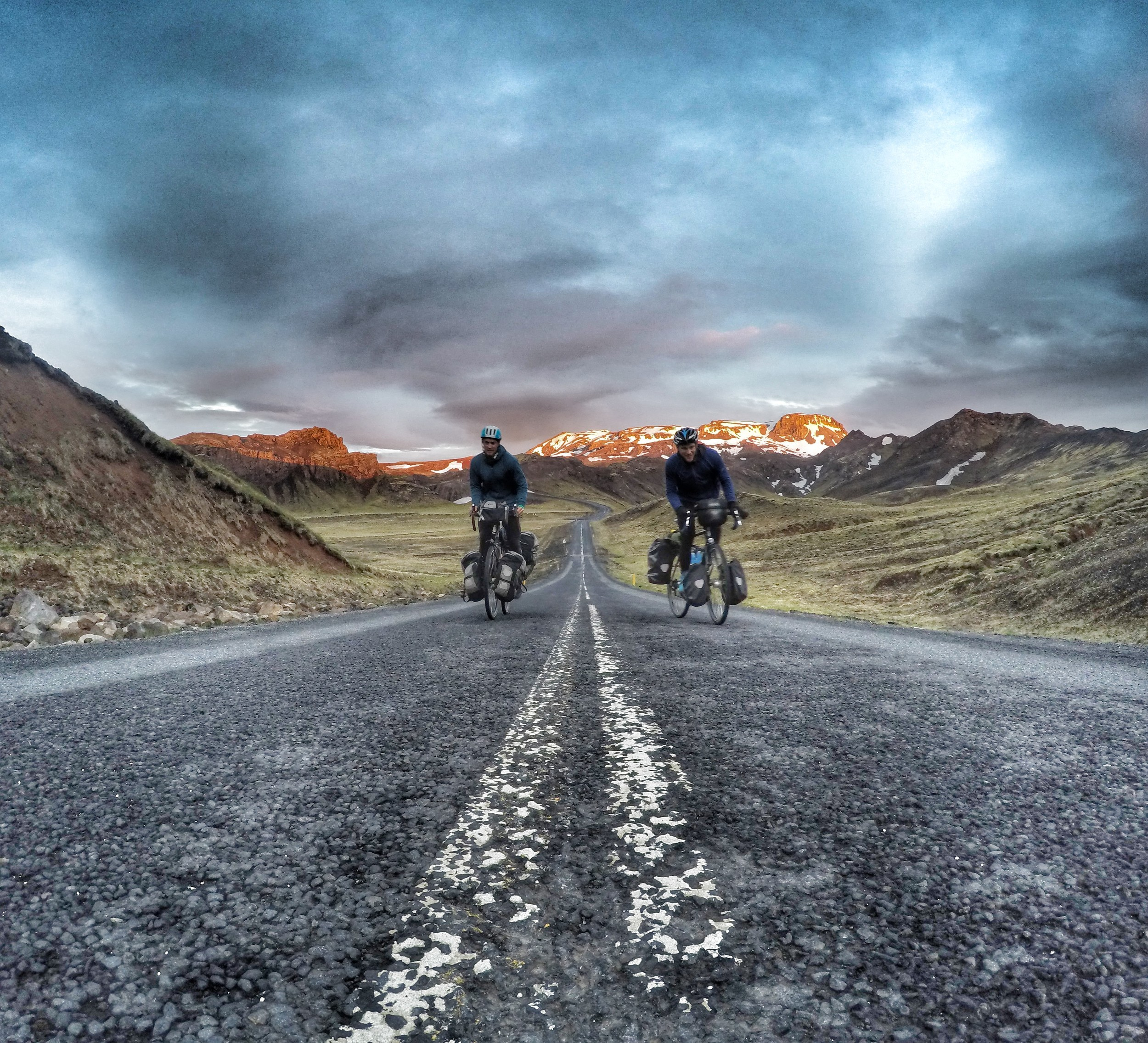 Some numbers from my circumnavigation of Iceland with my cousin:    Total distance: 1760.61km   Total time: 92h 32m 13s   Average speed: 19.03kph   Daily average: 110.06km   Daily average time: 5h 47m 1s   Number of days: 16   Jars of Nutella: > ½ dozen