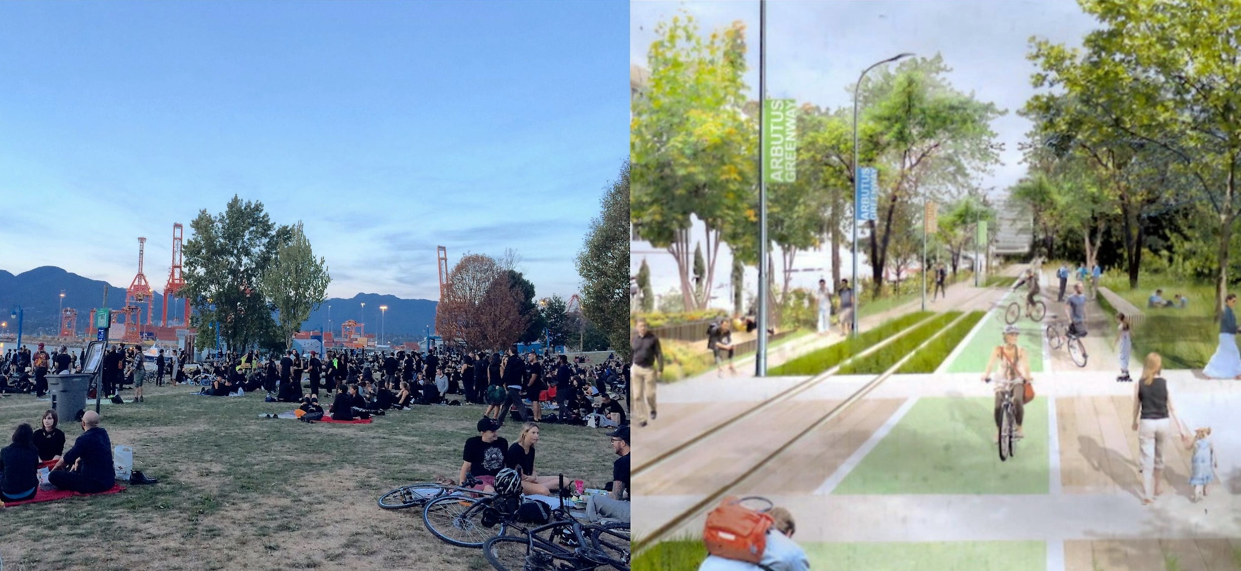 Left:  Ce Soir Noir at Crab Park. Photo by author.  Right:  Plans for the Arbutus Greenway. Image by City of Vancouver.