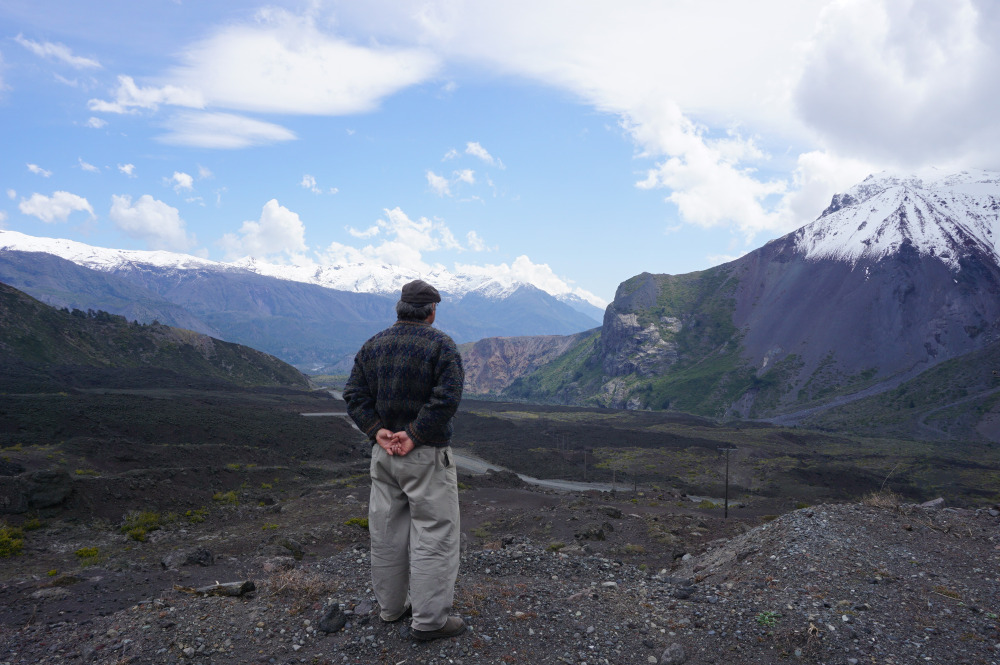 Arturo contemplating the valley beside his home and sharing with me his observation about the state of the local glaciers.