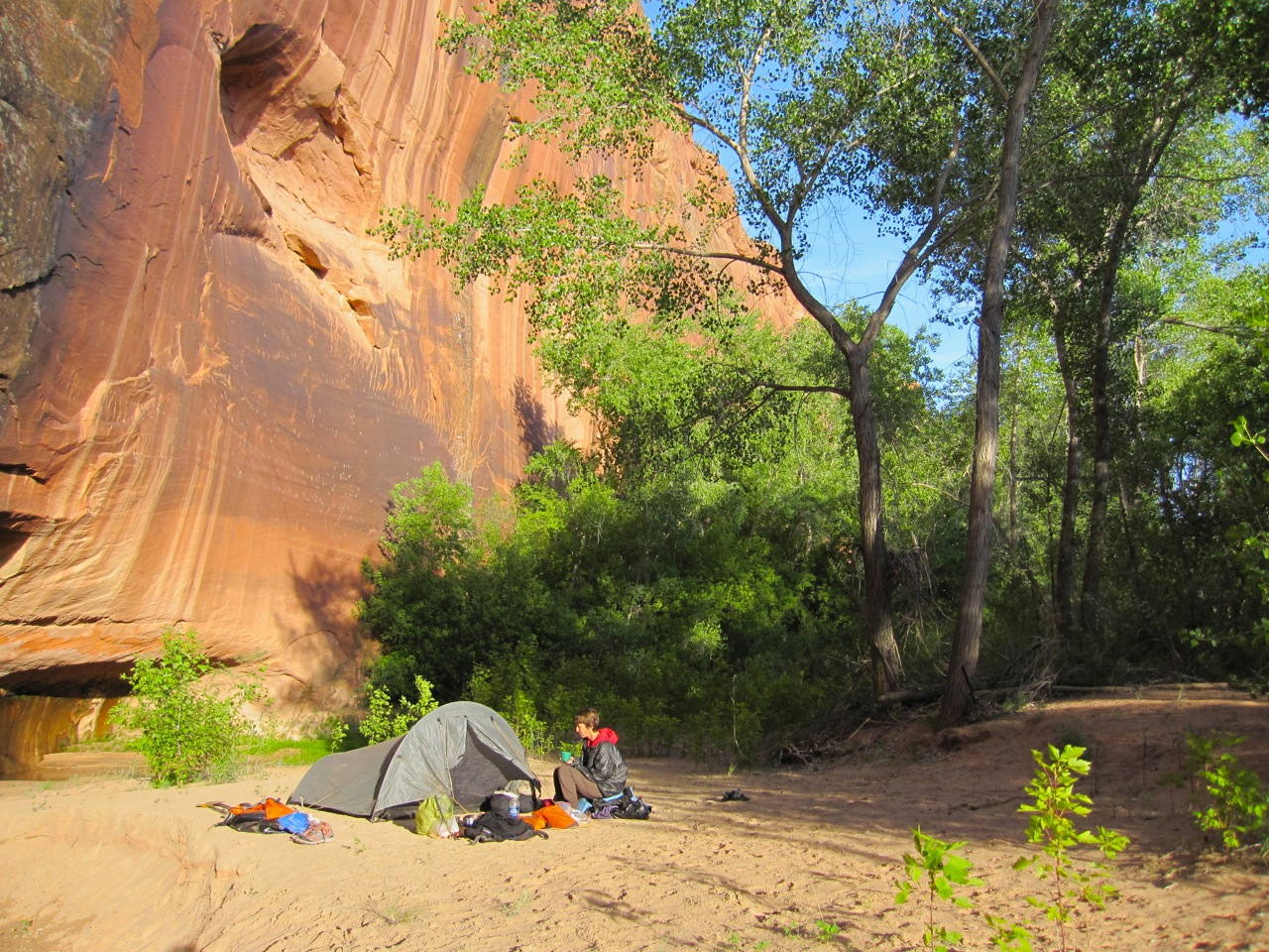 Our final camp along Harris Wash.  The side canyons of the Escalante are narrower and more spectacular than the main canyon.  Don't miss them.  You are rewarded with deep alcoves, sandy camps and rust and orange walls.