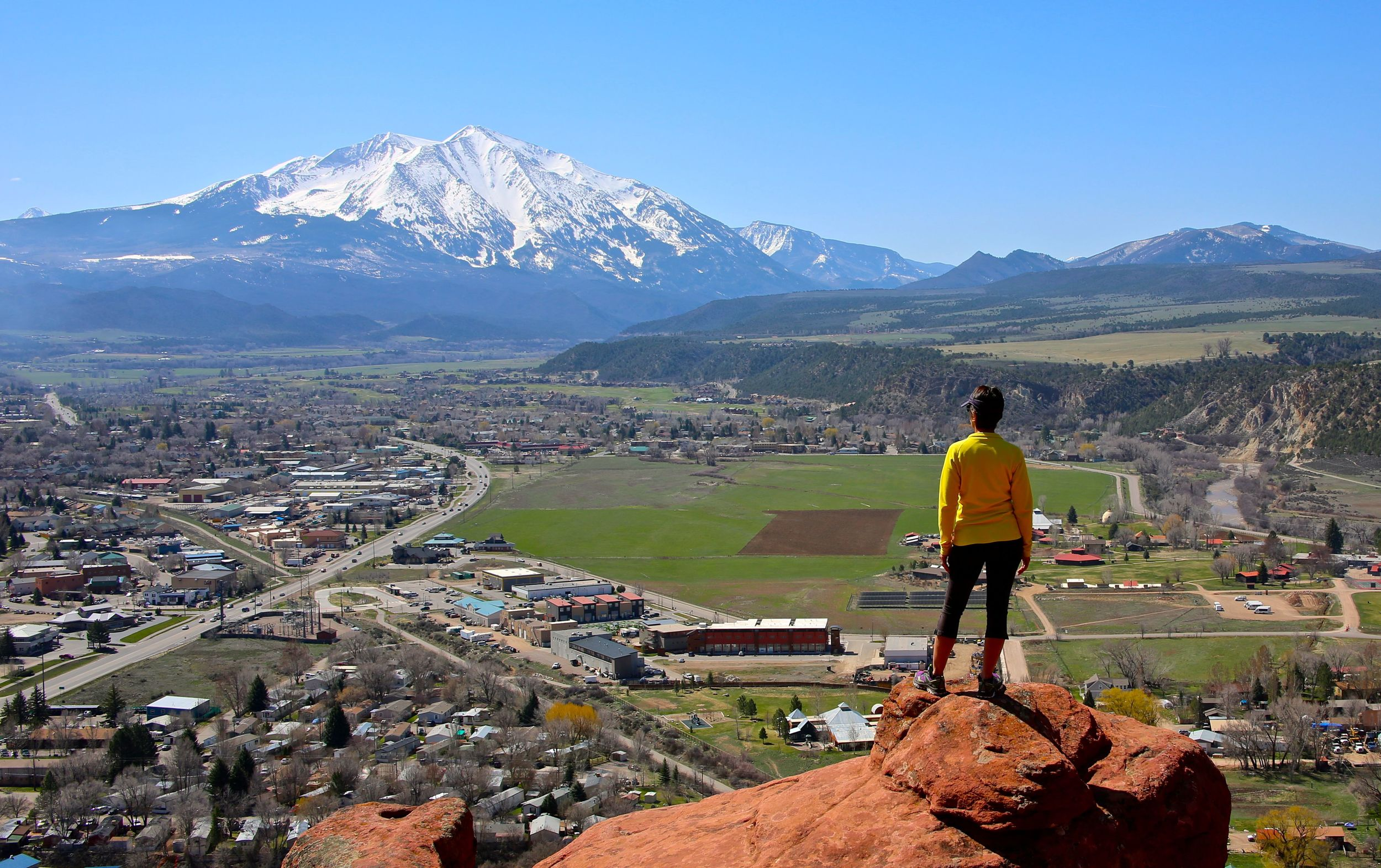 Karen on Red Hill, overlooking Carbondale and across to Mount Sopris.