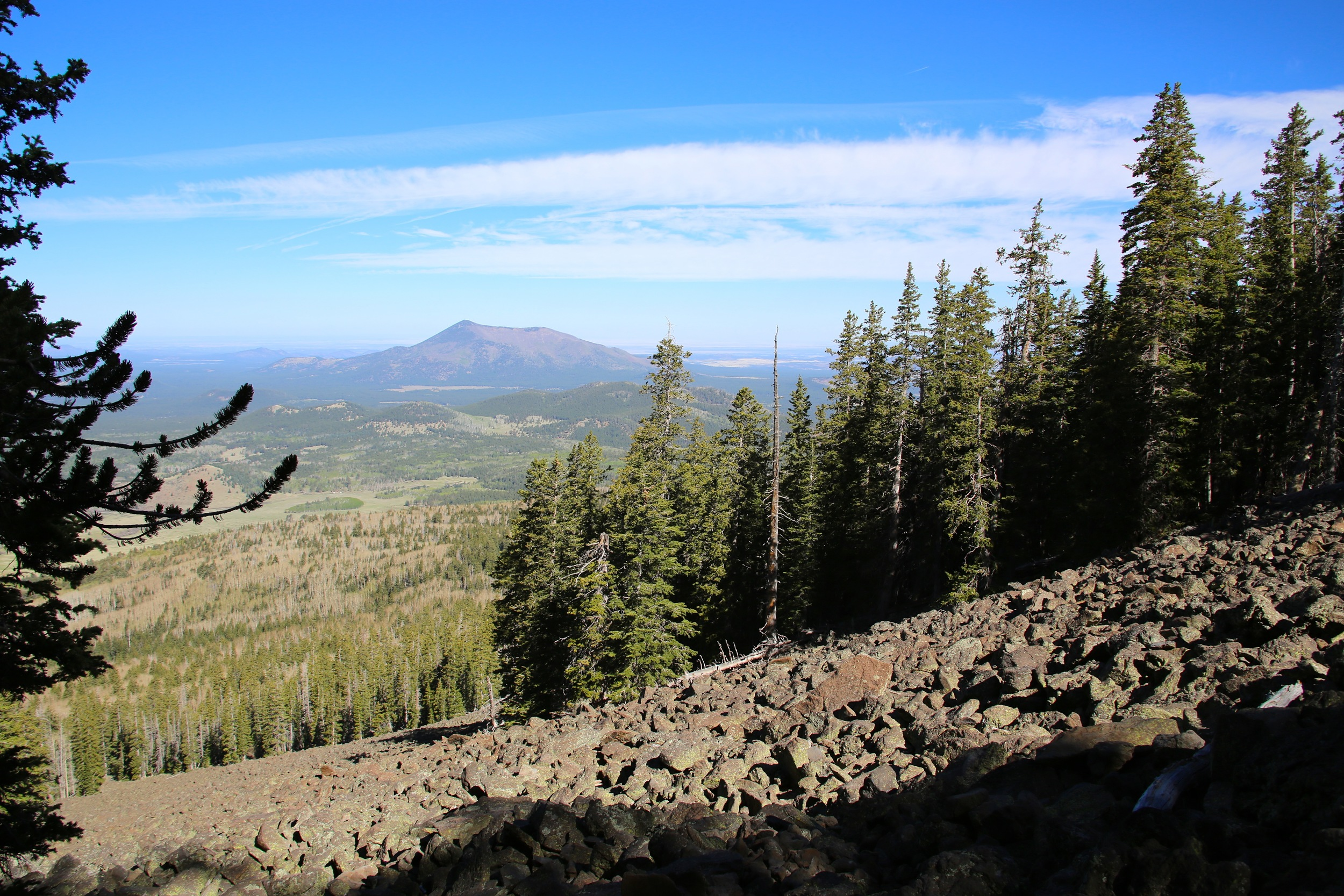 Kendrick Mountain (10400') as seen from a massive talus field on Humphreys Peak. Kendrick Mountain is another great local hike.