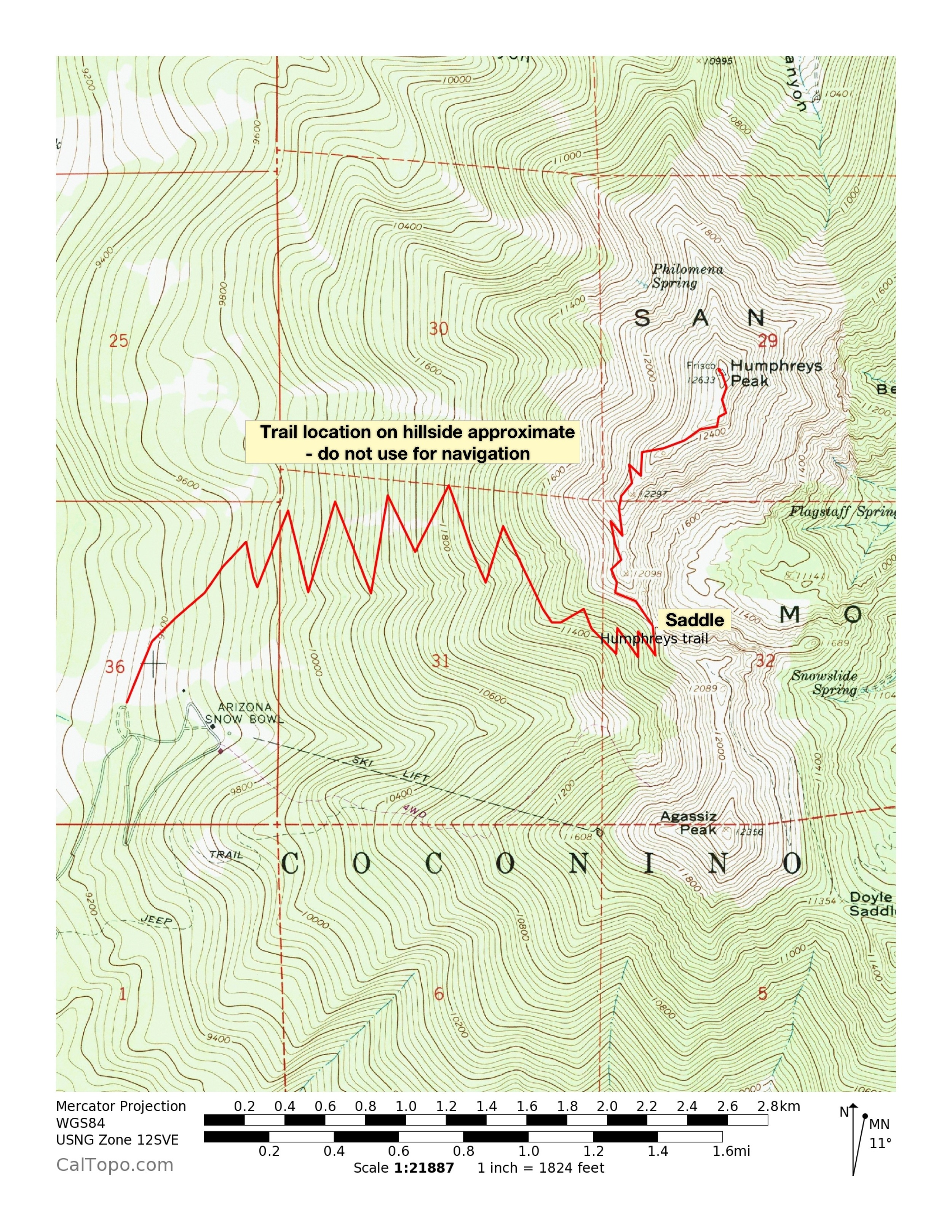 Map of the route up Humphreys Peak. Note that the trail locations are approximate only.