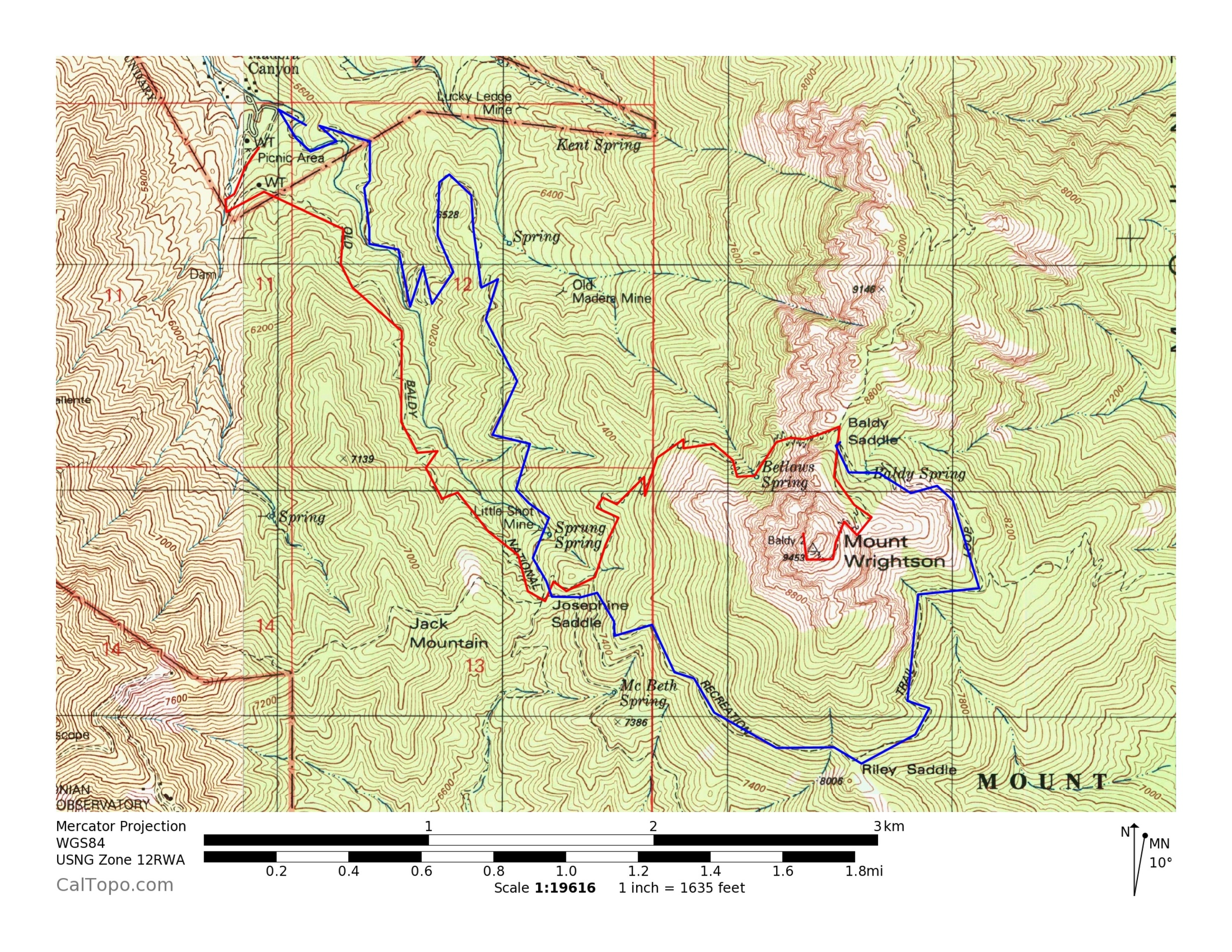 The two main trails up Mount Wrightson are shown here; the Old Baldy Trail in red and the Super Trail in blue.  The two trails cross at Josephine Saddle, and then join at Baldy Saddle.  Above Josephine Saddle, the Super Trail  gradually climbs around the south side of the peak, while the Old Baldy trail climbs steeply up the north side.  There is one trail for the final climb from Baldy Saddle to the summit (shown in red).