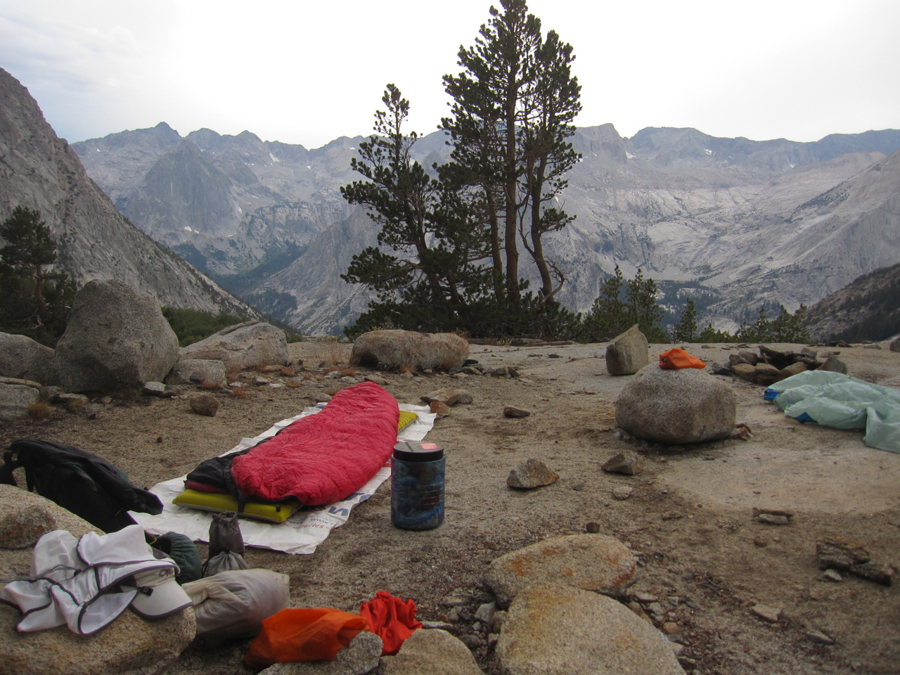 My solo camp above LeConte Canyon on the Sierra High Route. This photo was taken just before a four hour thunderstorm. I like the photo more for the location and memory than the quality of the photo itself.