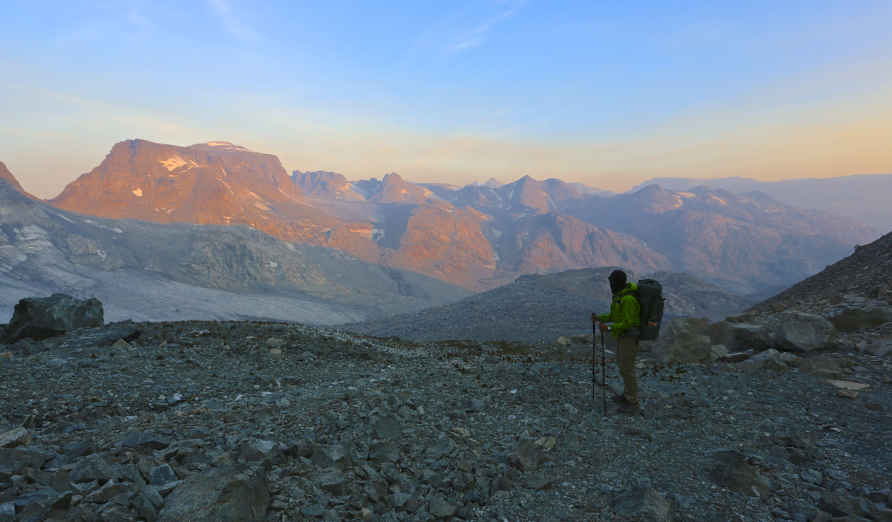 Alan at sunrise, climbing Alpine Lakes Pass. Wind River High Route.