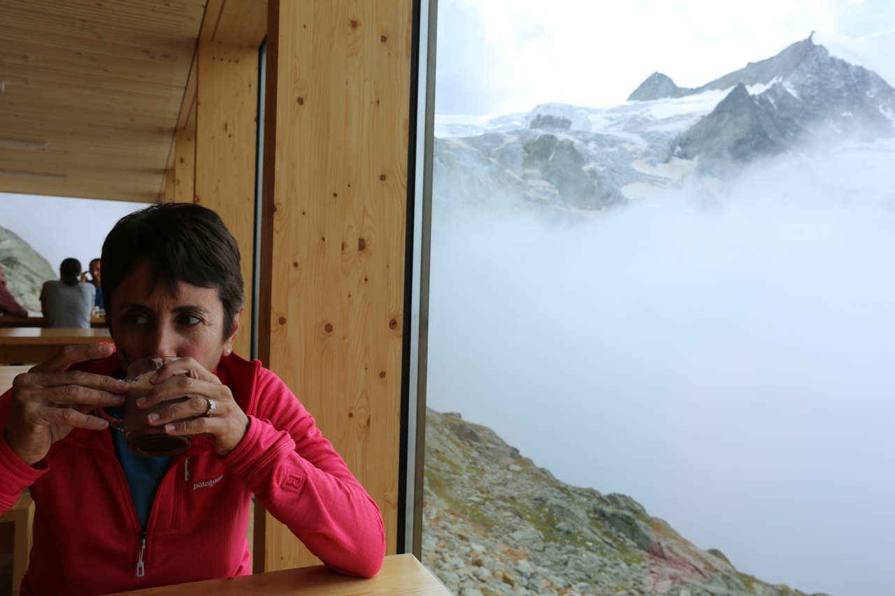 The Cabane de Moiry, perched above a spectacular 1000 foot icefall.