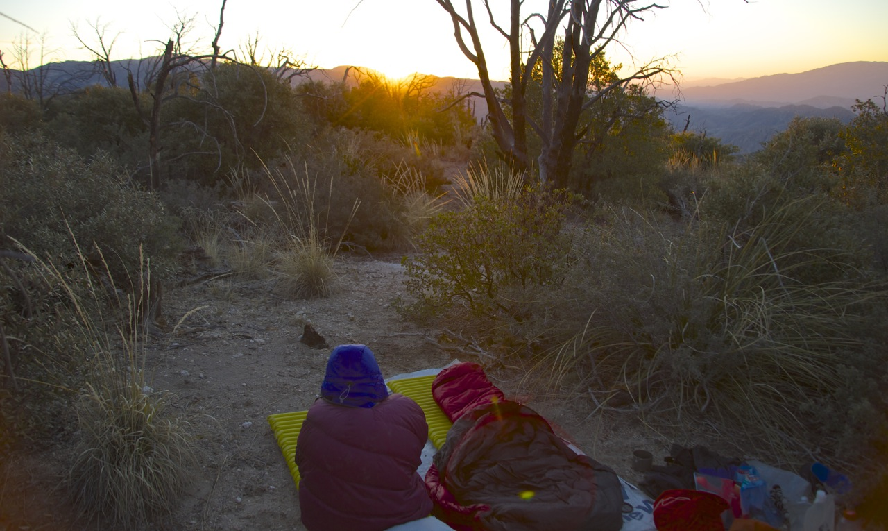 Coffee at sunrise, from our camp along the upper ridge.