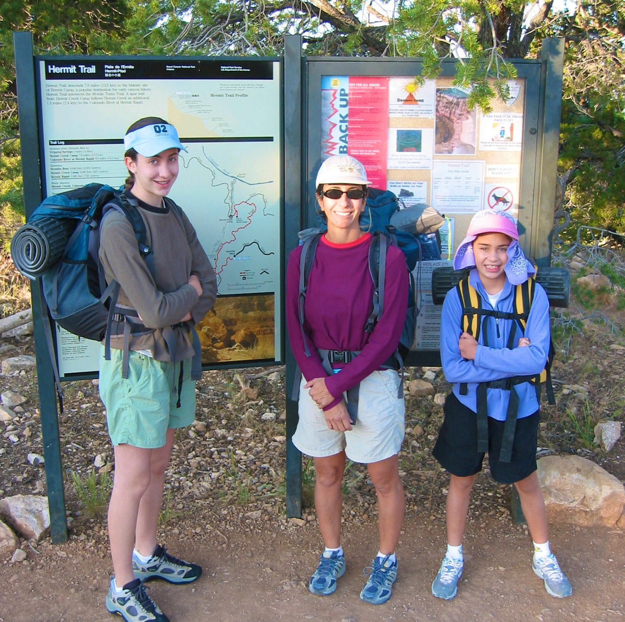 Getting started at the top of the Hermit Trail. We travelled pretty light for our 5 day trip, as evidenced by Megan's pack (on the left).
