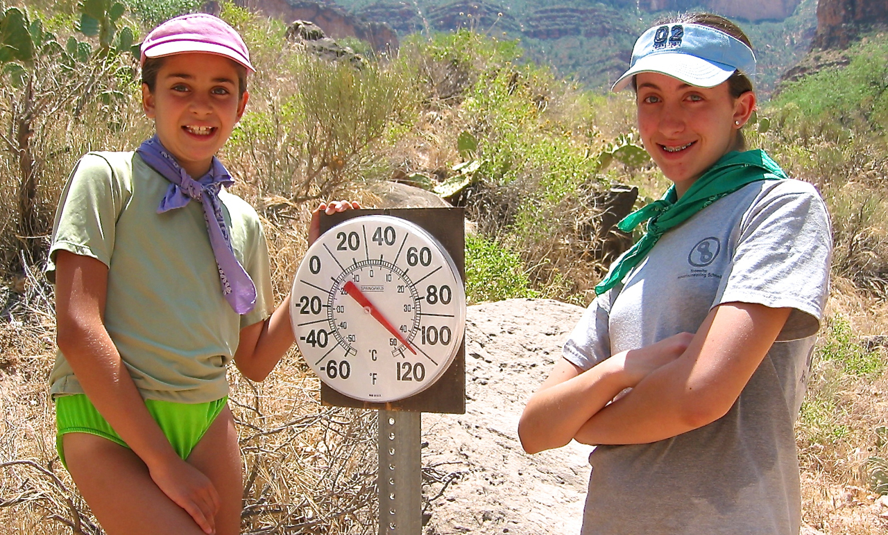 It's HOT in the Grand Canyon in summer. This thermometer is at Indian Gardens read 112 degrees Fahrenheit at mid-day. The inner canyon near the river is even hotter.