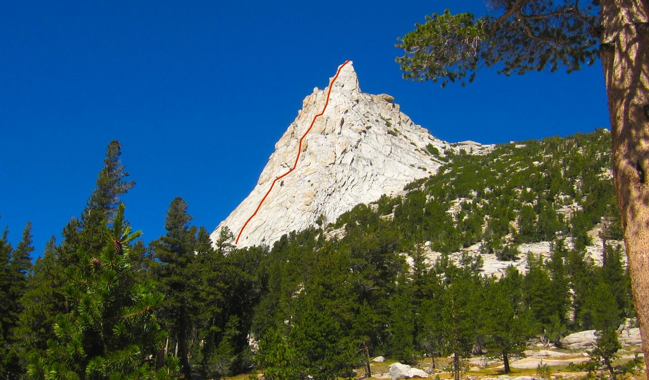 Another view of Cathedral Peak, taken from the southeast, on the climber's approach trail.  Approximate line of the Southeast Buttress route shown in red.